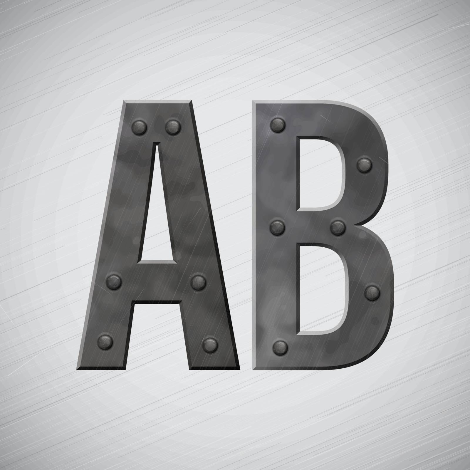 Metal symbols with bolts. Vector illustration.