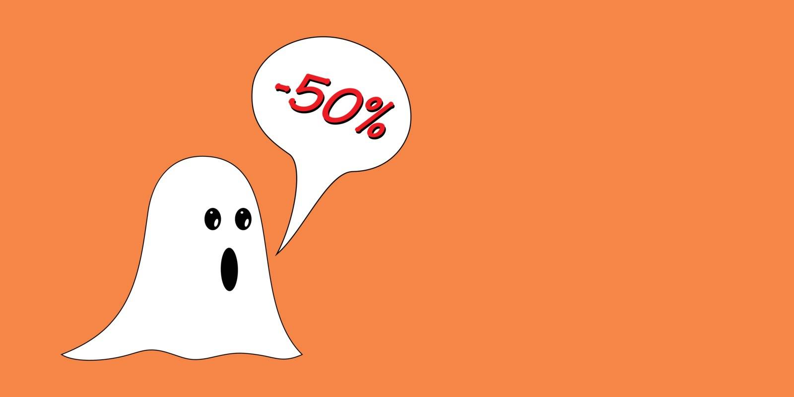 Halloween discount with amazed ghost, on orange isolated background. Red -50% in speech bubble. Empty space for text.