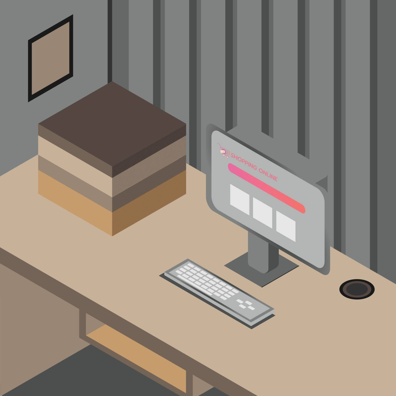Art & Illustration about desk for office room or workspace with computer and some book