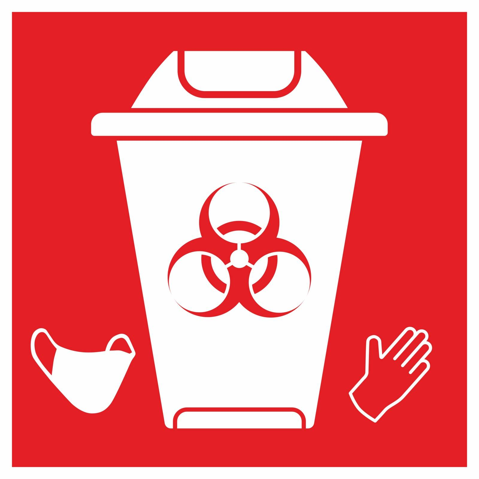 Red rectangle sign Biohazard trash garbage. Safely dispose contaminated gloves and face masks.Do not Reuse.Medical waste bin. .Coronavirus covid-19 pandemic.