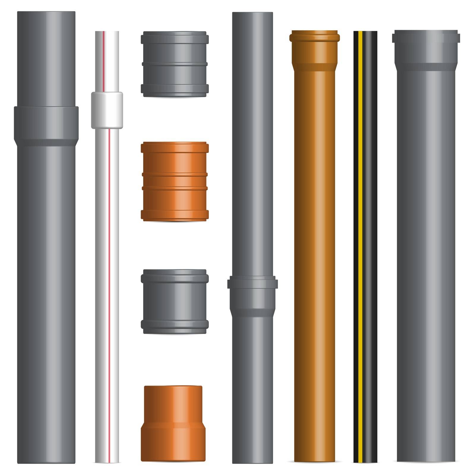 Set of various plastic pipes for sewage, water pipe with connecting flanges isolated on a white background. Front view, vector illustration.