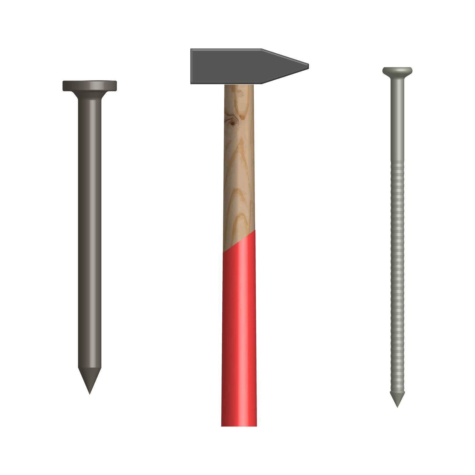 Hammer and nails isolated on white background. Elements design of the working tool and fasteners. Front view, vector illustration.