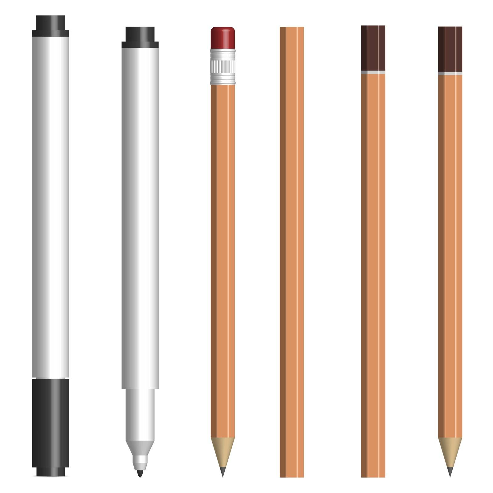 Set of different text markers and pencils, with and without a cup. Isolated on white background, vector illustration.