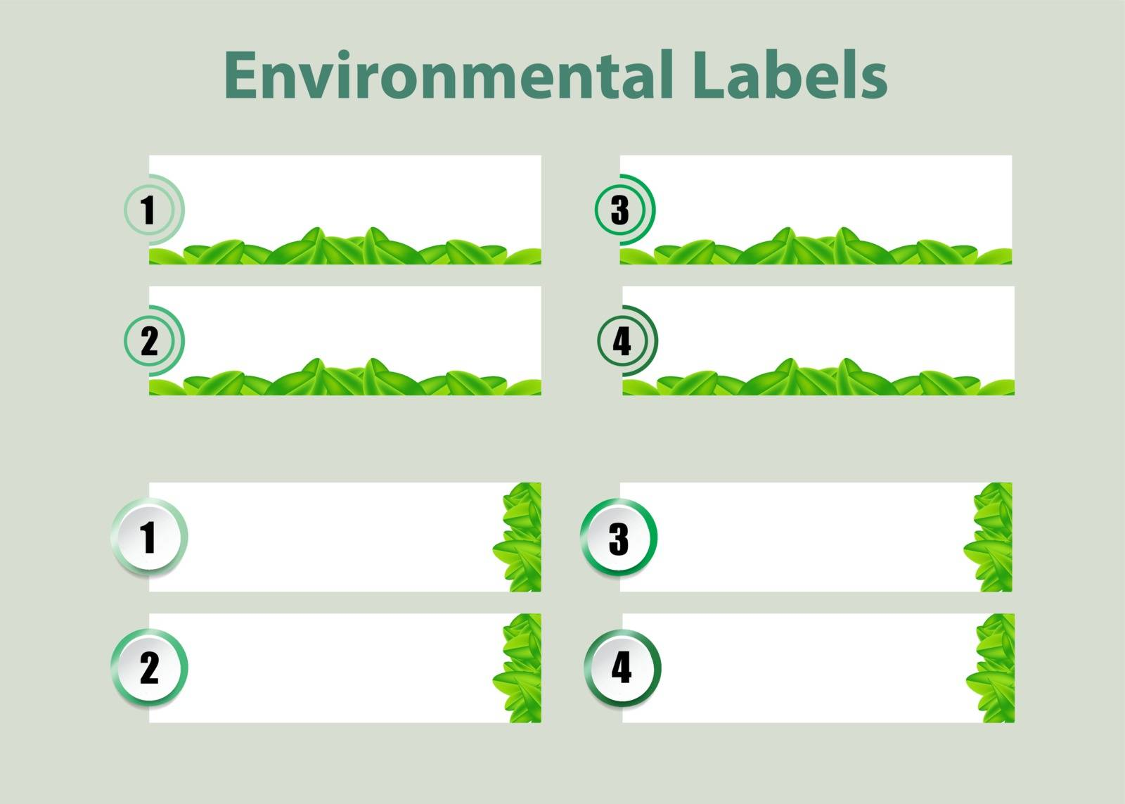 Environmental infographic template vector of two sets of numbered blank labels of green leaves design ready for your use