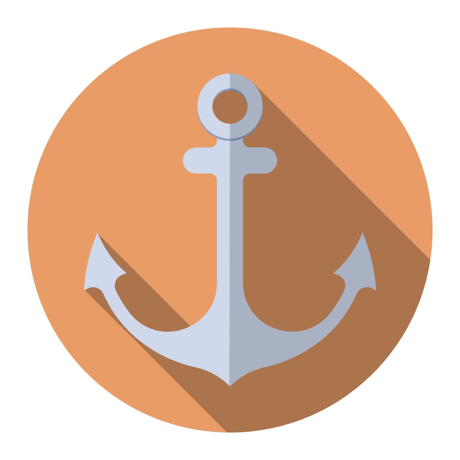 Flat design modern vector illustration of anchor icon with long shadow, isolated