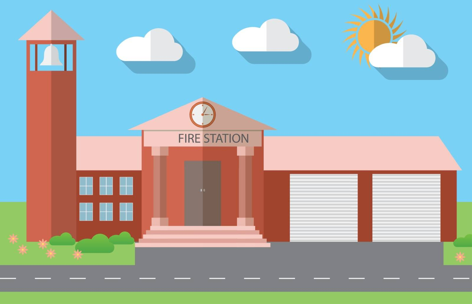 Flat design vector illustration of fire station building in flat design style, vector illustration