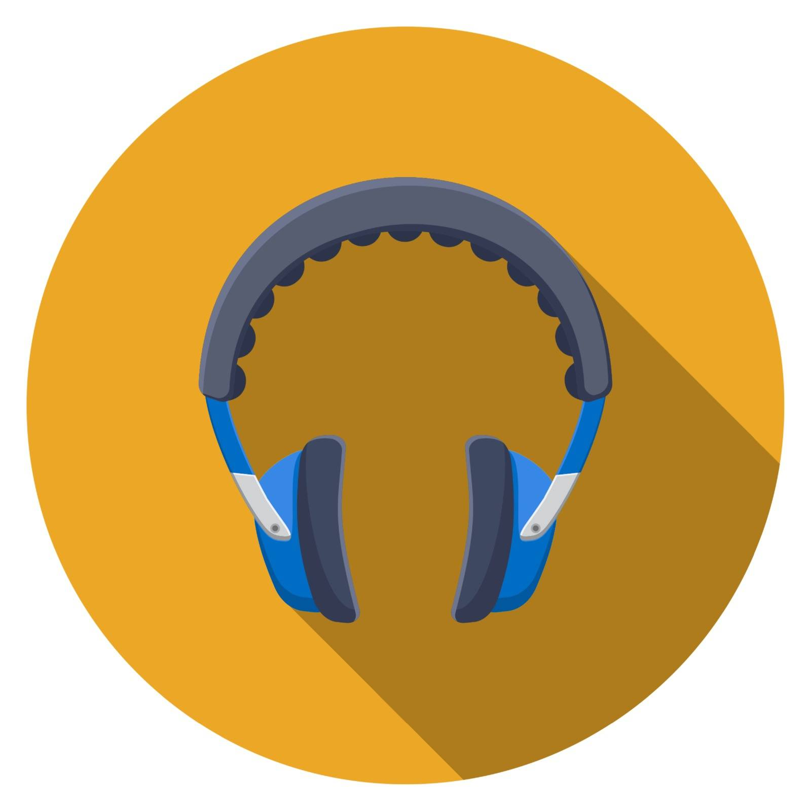 Flat design vector headphones icon with long shadow, isolated.