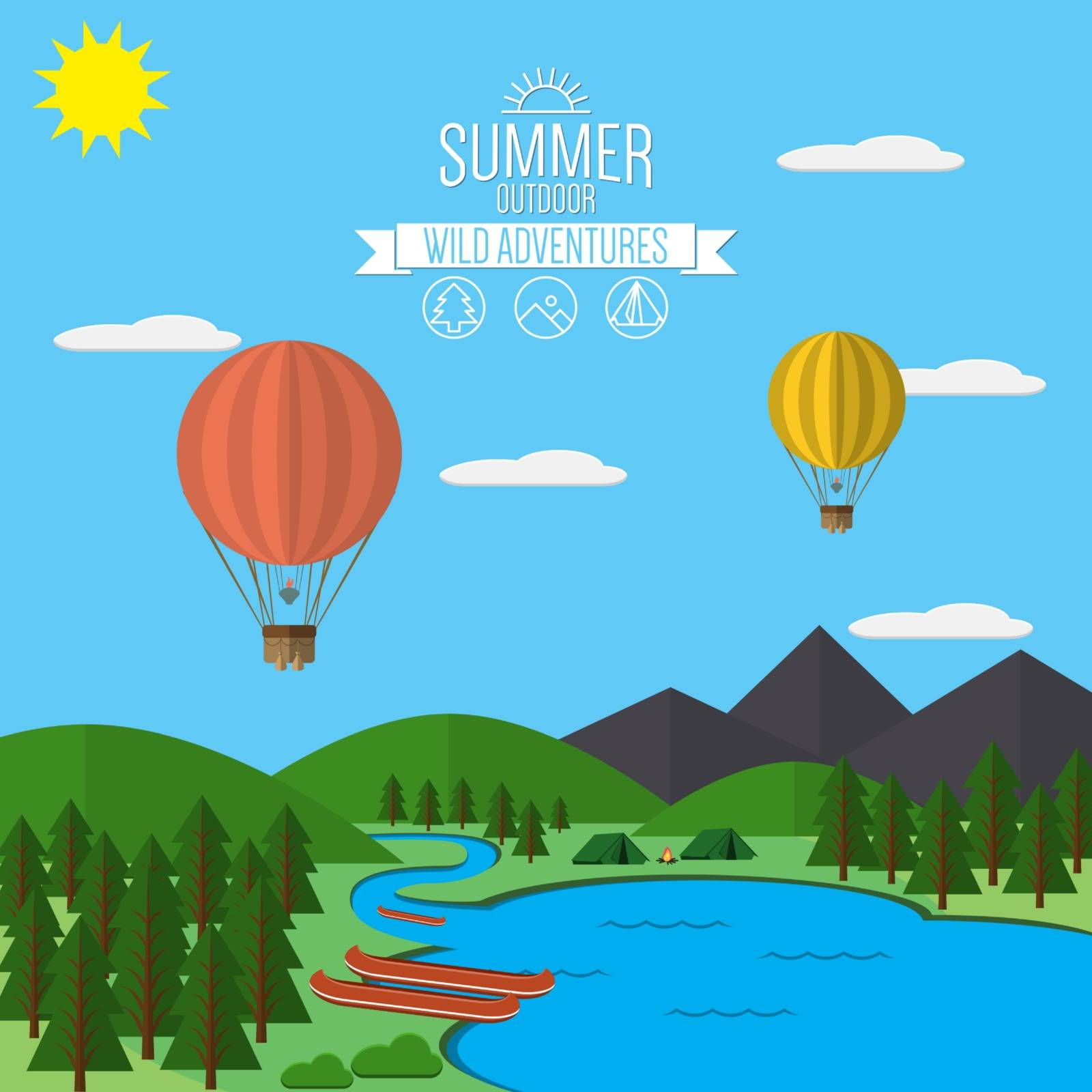Mountains with forest and lake landscape flat vector illustration, for camping and hiking, Extreme sports, outdoor adventure, with recreation place, tents and fire.