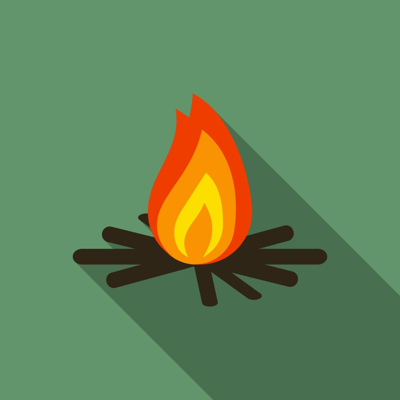 Flat design modern vector illustration of bonfire icon, camping and hiking symbol with long shadow.