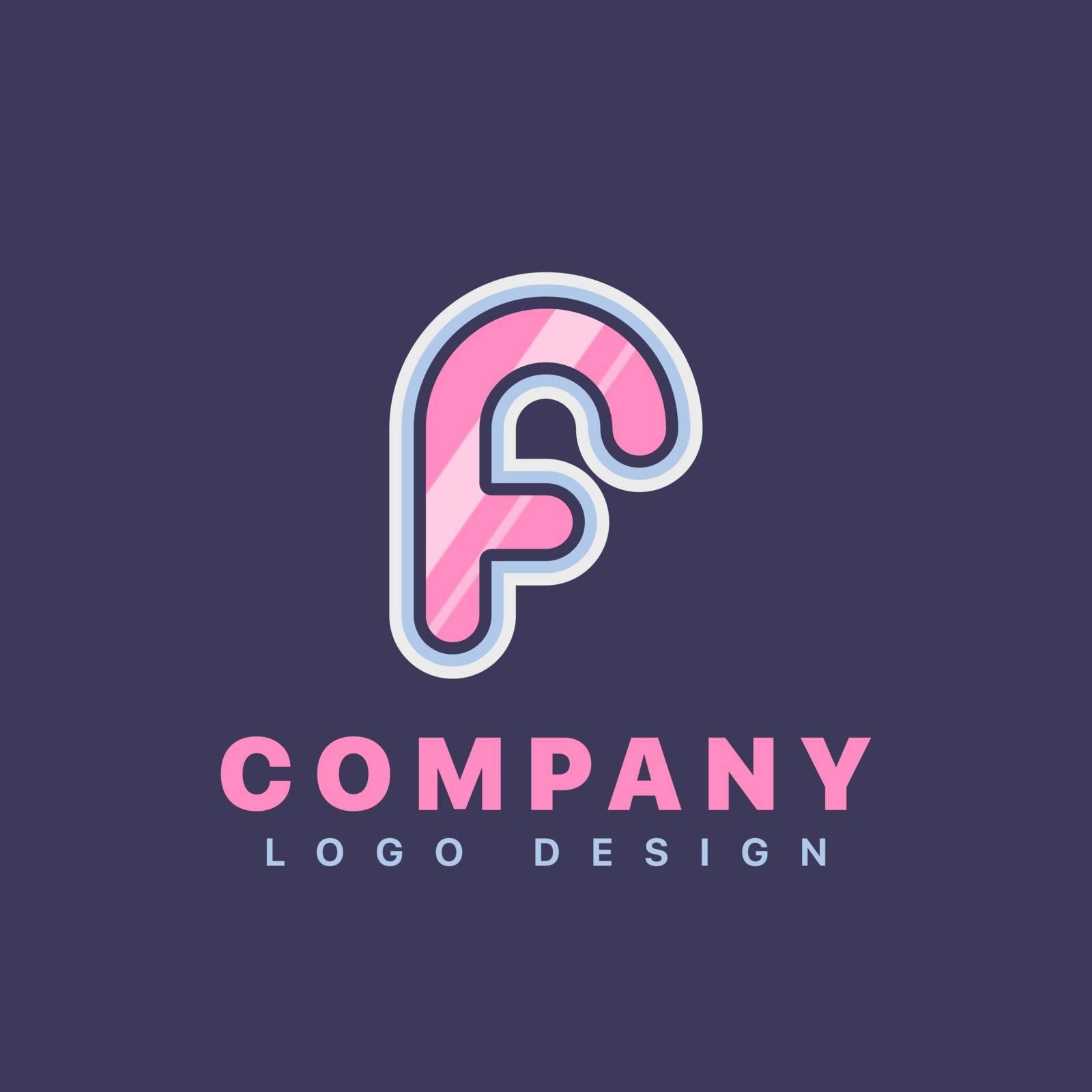 Letter F logo design template. Company logo icon