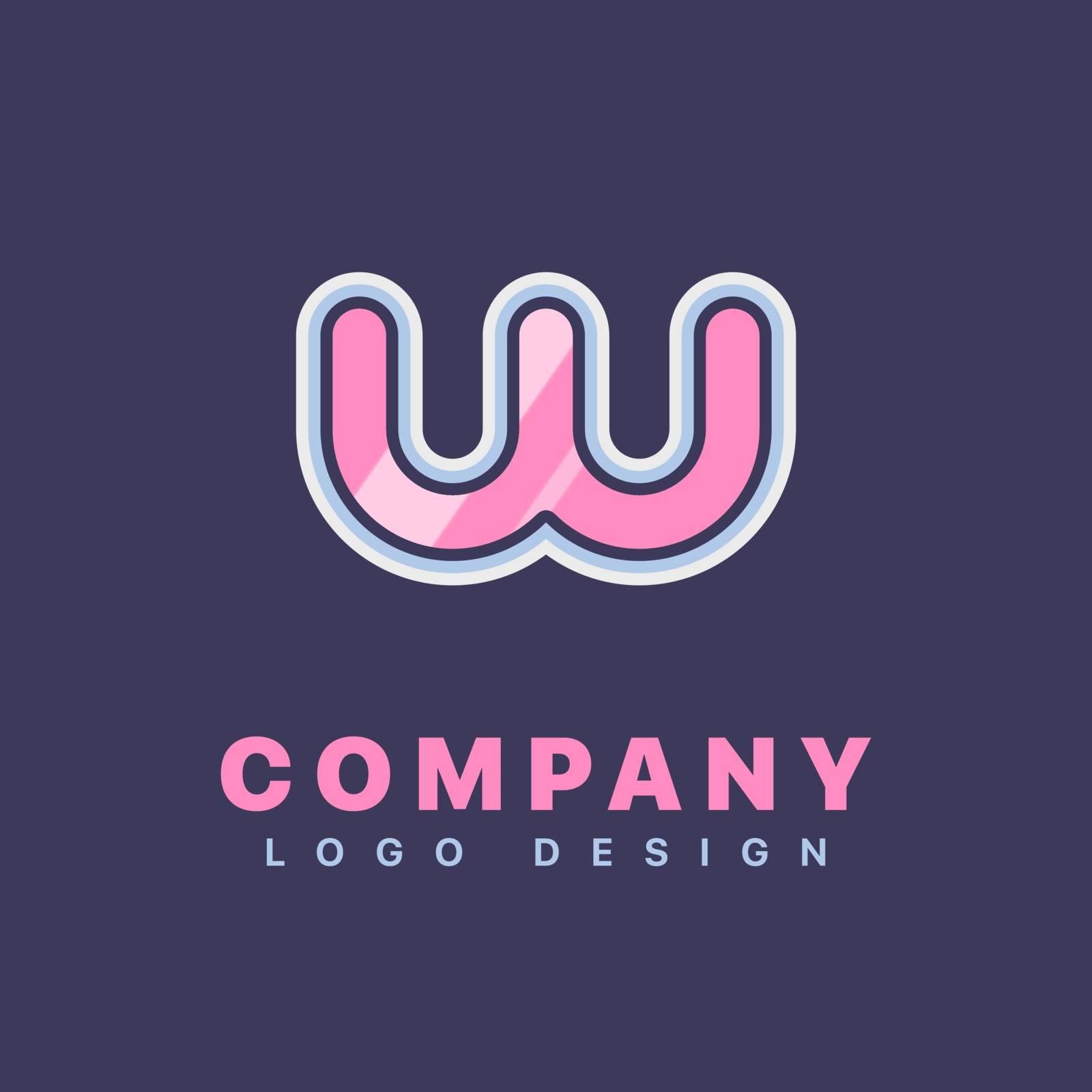 Letter W logo design template. Company logo icon