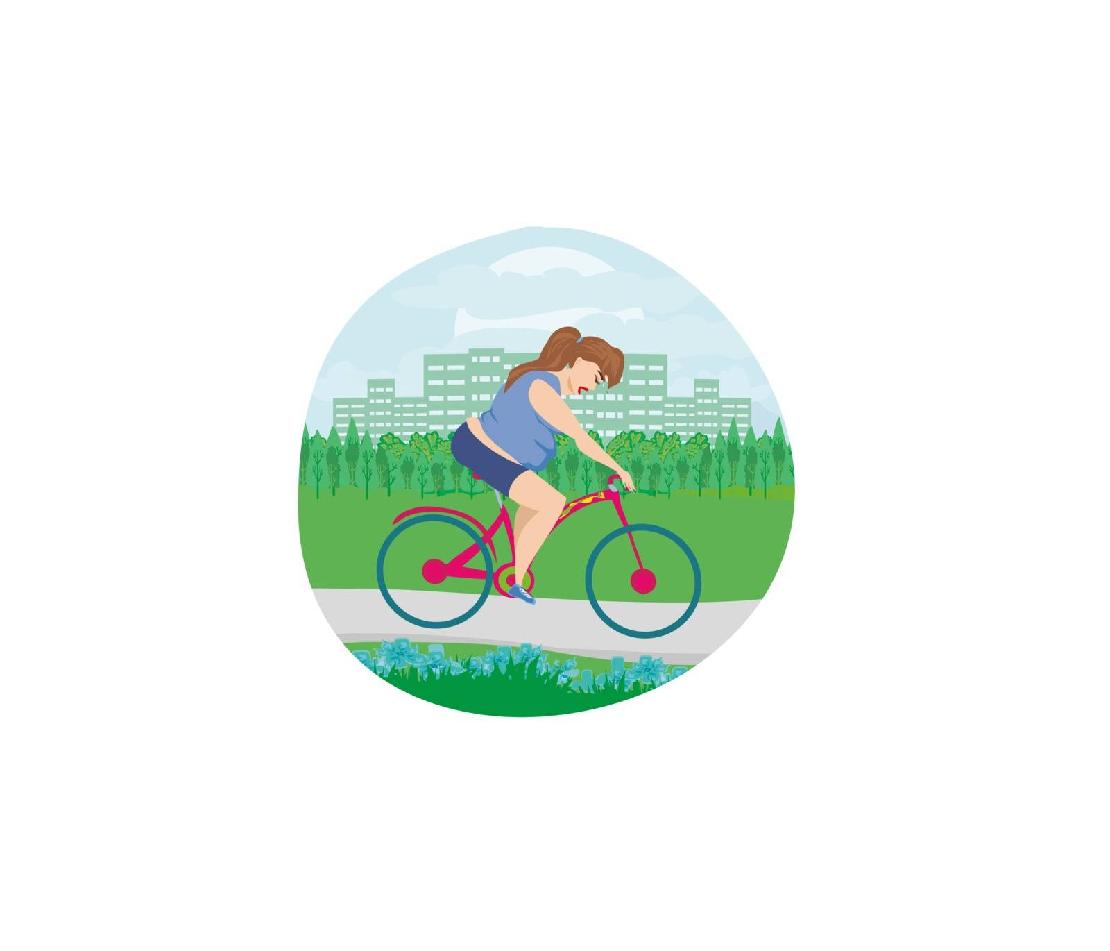 Overweight woman ride on bike