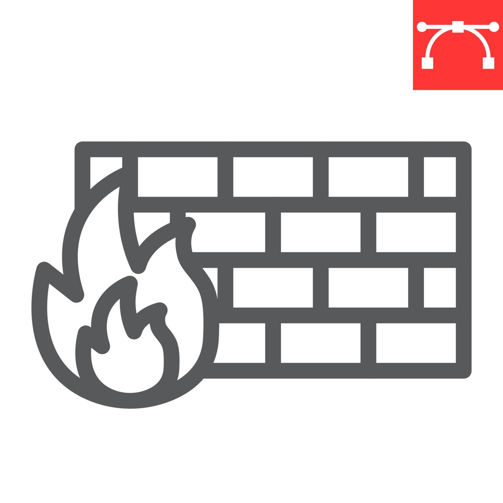 Firewall line icon, security and protection, flame sign vector graphics, editable stroke linear icon, eps 10
