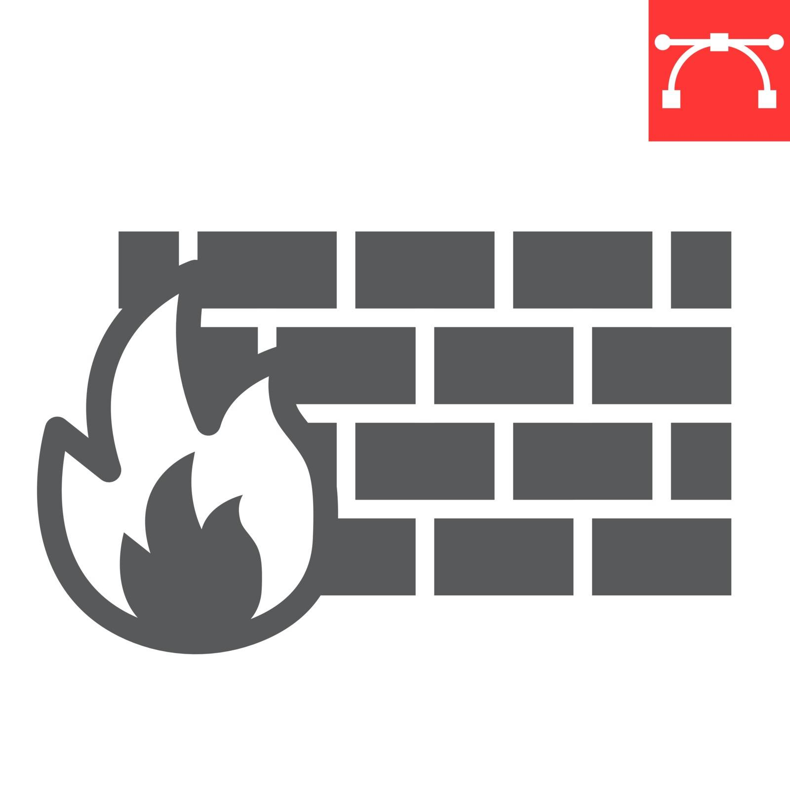 Firewall glyph icon, security and protection, flame sign vector graphics, editable stroke solid icon, eps 10