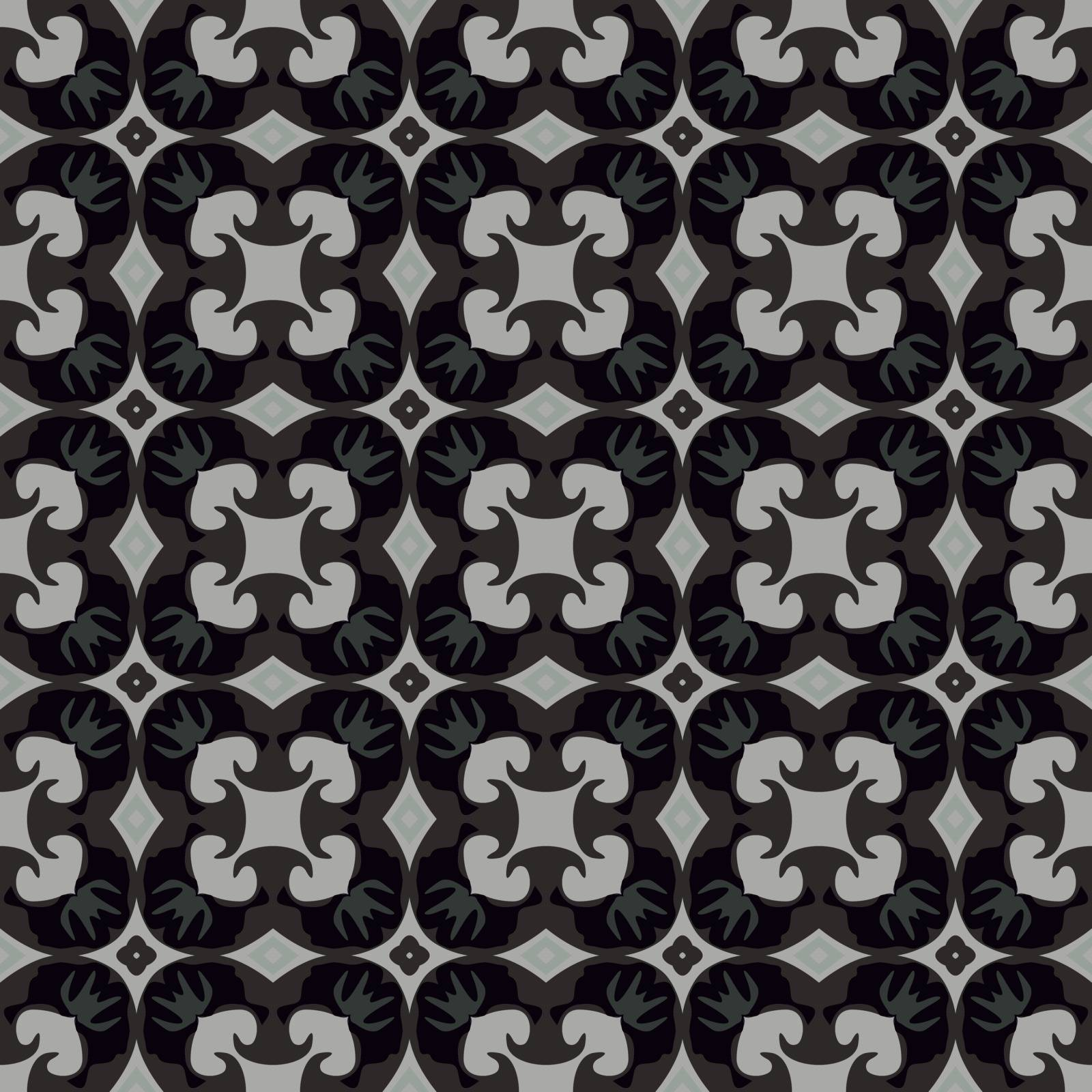 Seamless illustrated pattern made of abstract elements in beige, gray, and black