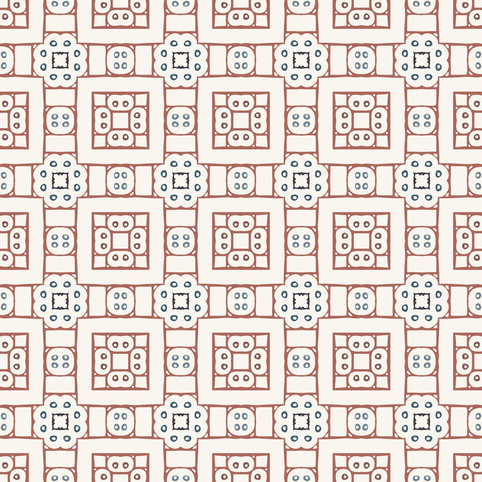 Seamless illustrated pattern made of abstract elements in white, red and blue