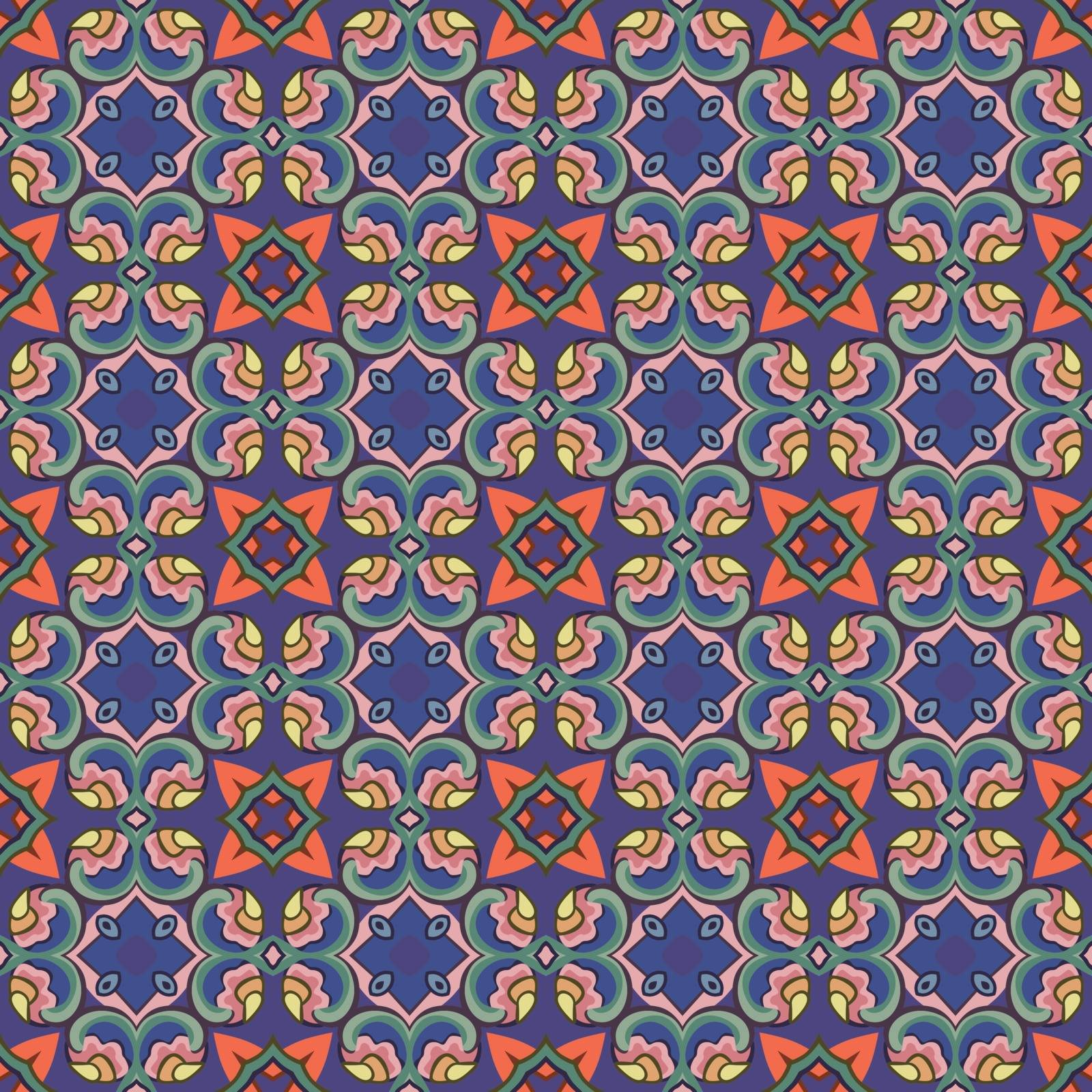 Seamless illustrated pattern made of abstract elements in blue, red, green, yellow, orange, pink, brown and gray