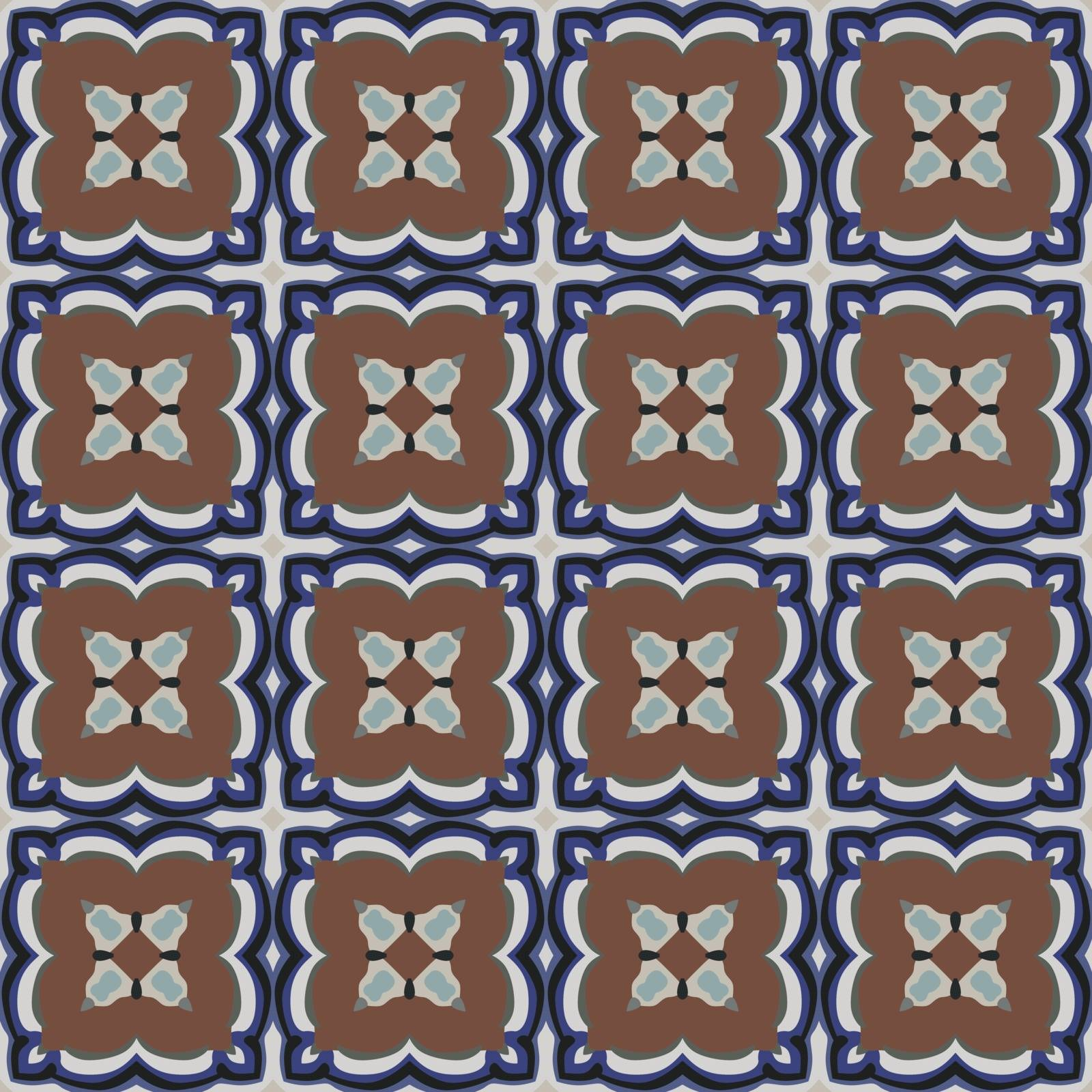Seamless illustrated pattern made of abstract elements in light gray, brown, black and shades of blue