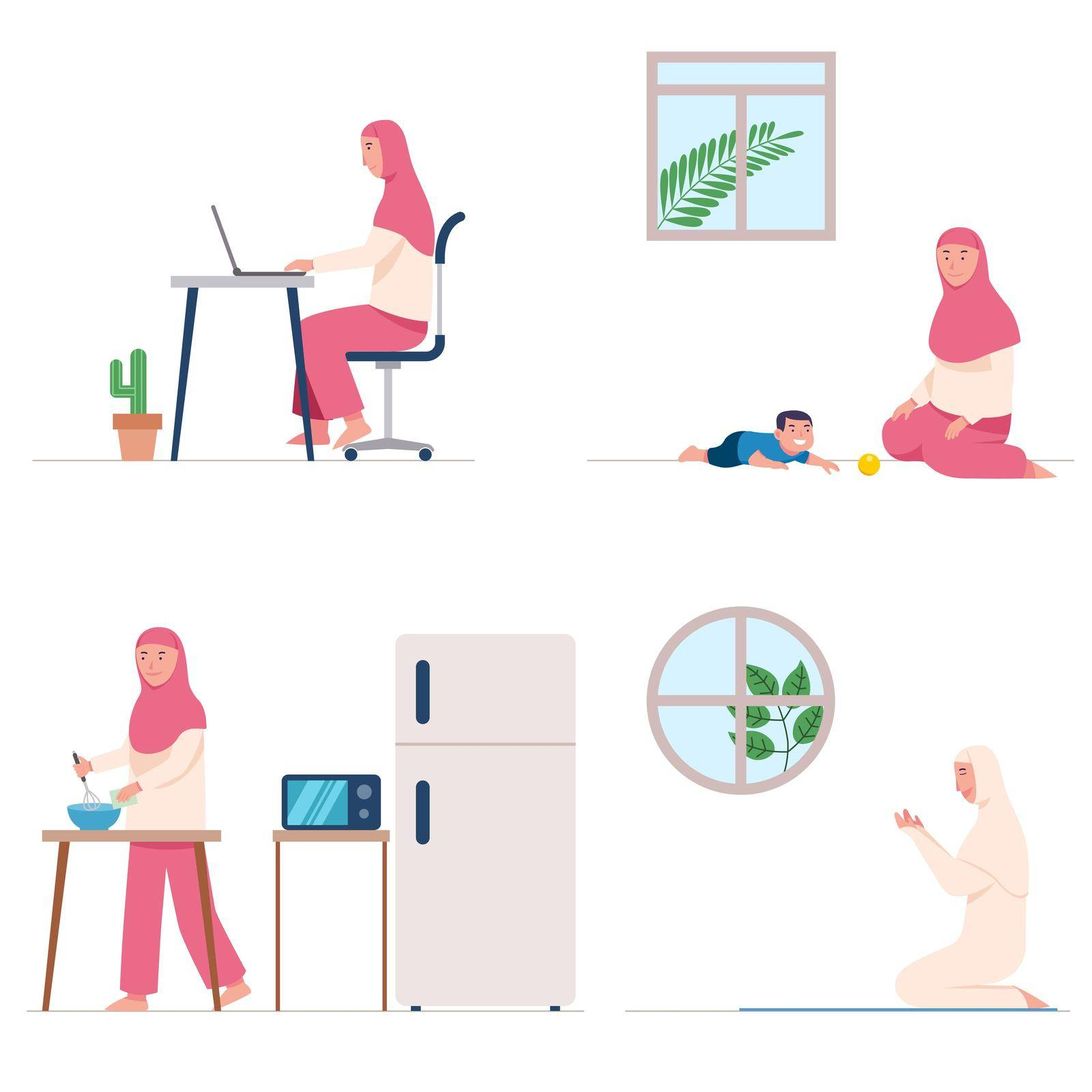Female moslem stay and do daily activity at home during of flu spread.