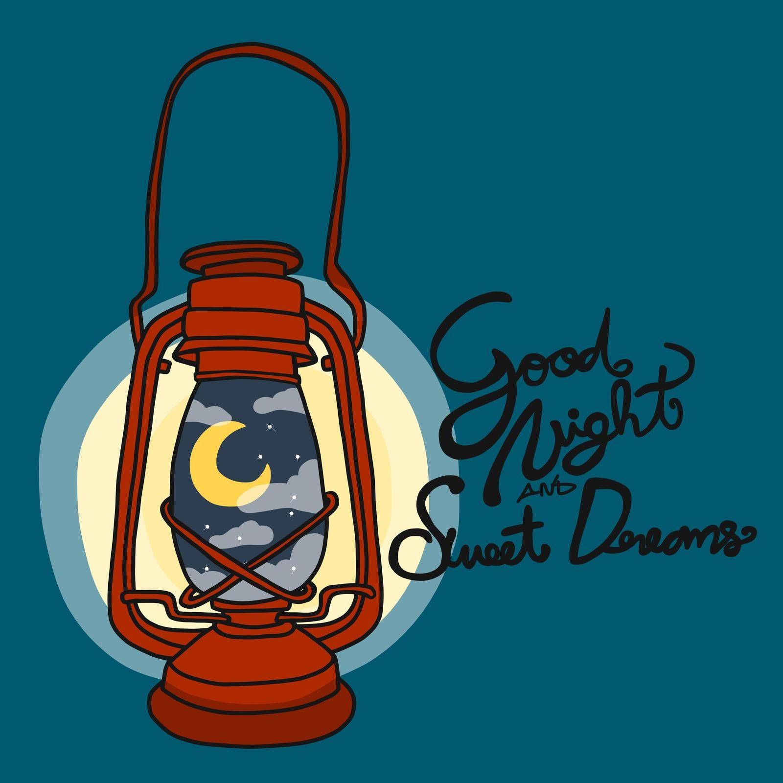 Goodnight and sweet dreams vintage lamp with moon and cloud inside cartoon vector illustration