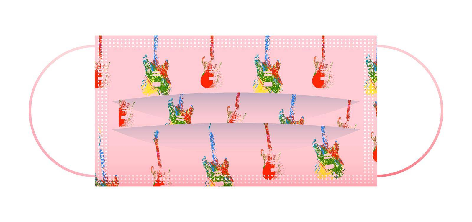 Childrens pink medical face mask with funny pattern of guitars. Respiratory protection for children. Isolated vector on white background