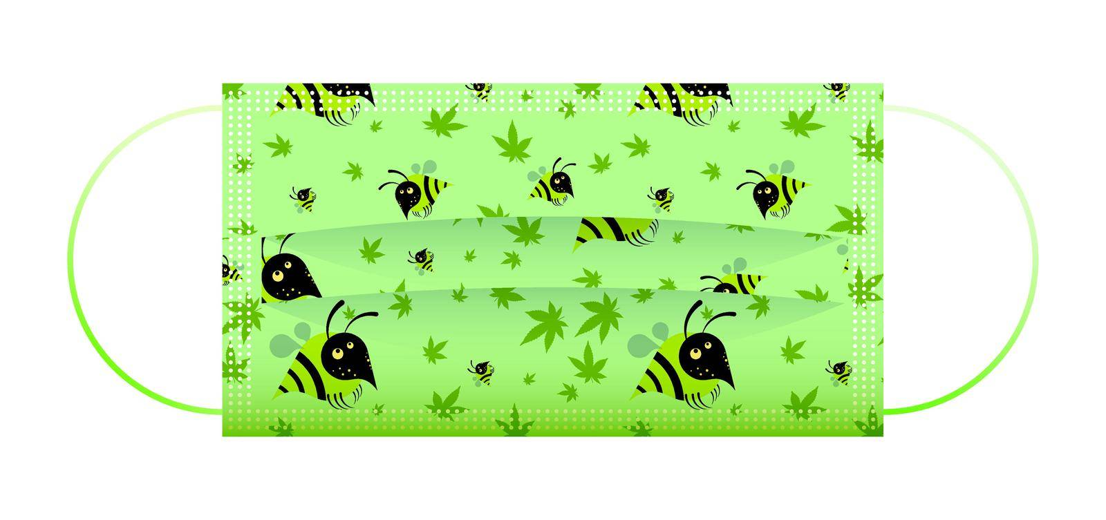 Childrens green medical face mask with funny drawings of little bees. Respiratory protection for children. Isolated vector on white background