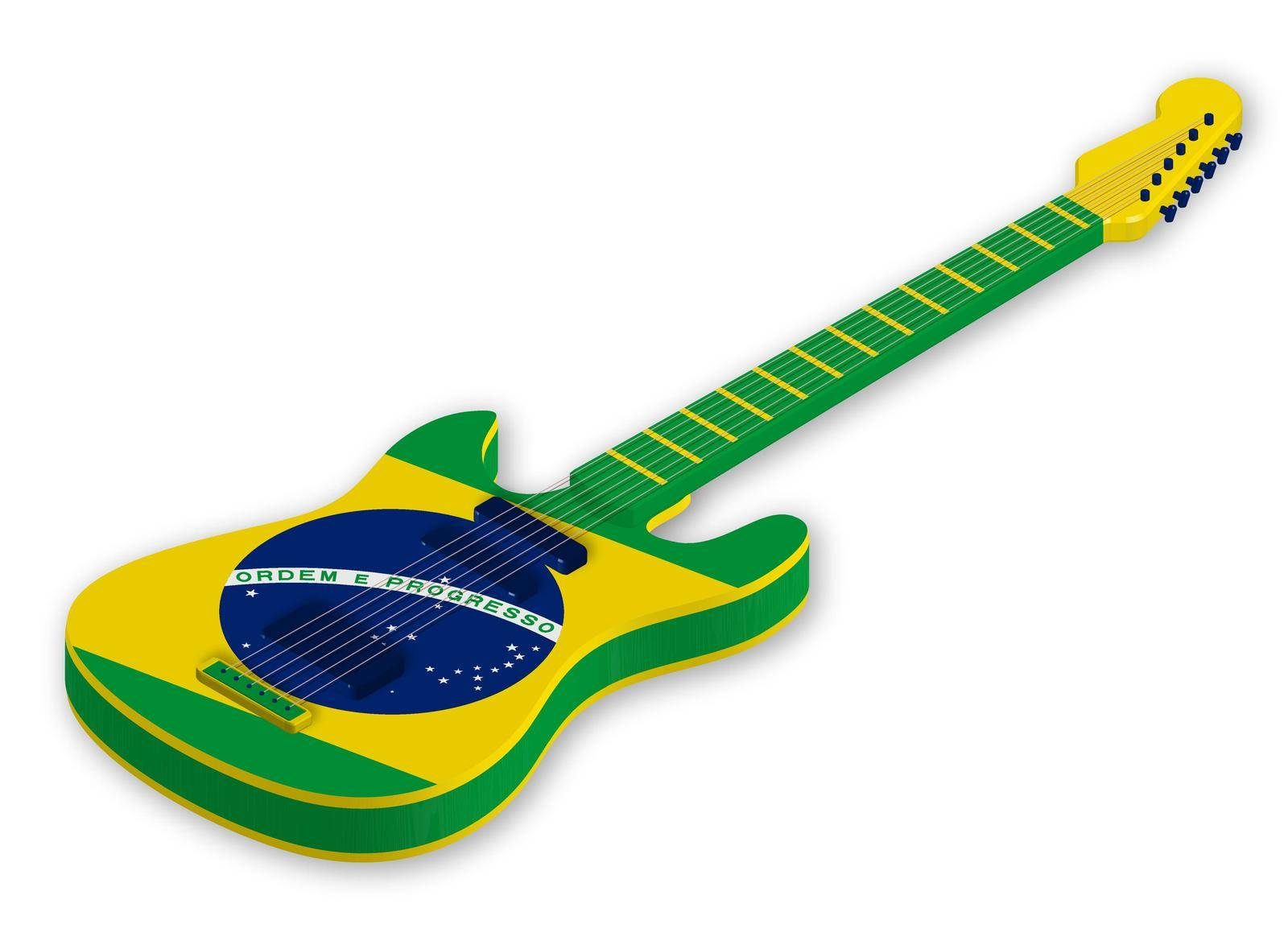 Awesome acoustic guitar with the colors of the brazilian flag in a realistic style. Design element. Isolated vector on white background