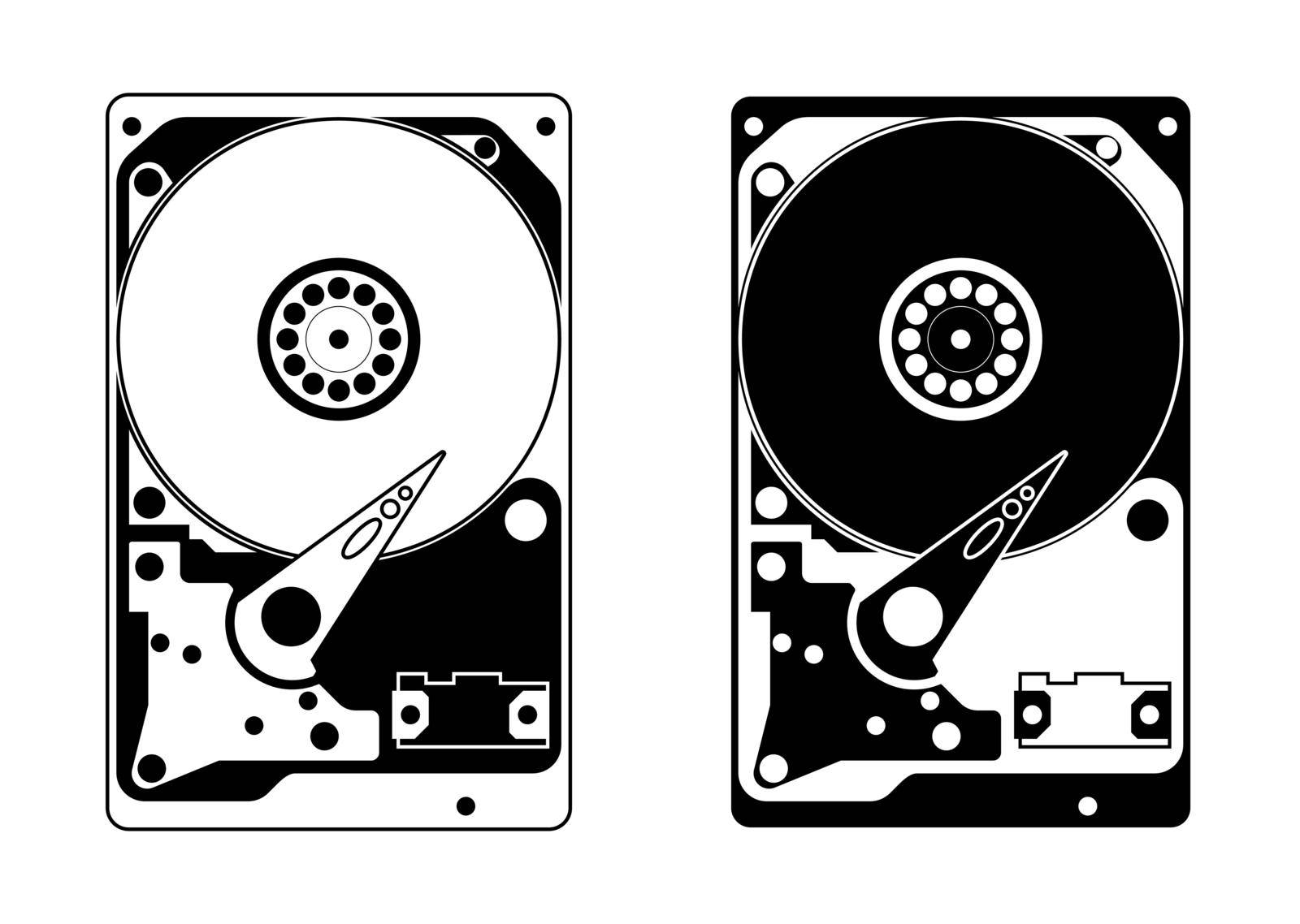 Hard drive without a top cover with internal device and mechanisms. In a linear style, black and white icon. Isolated vector