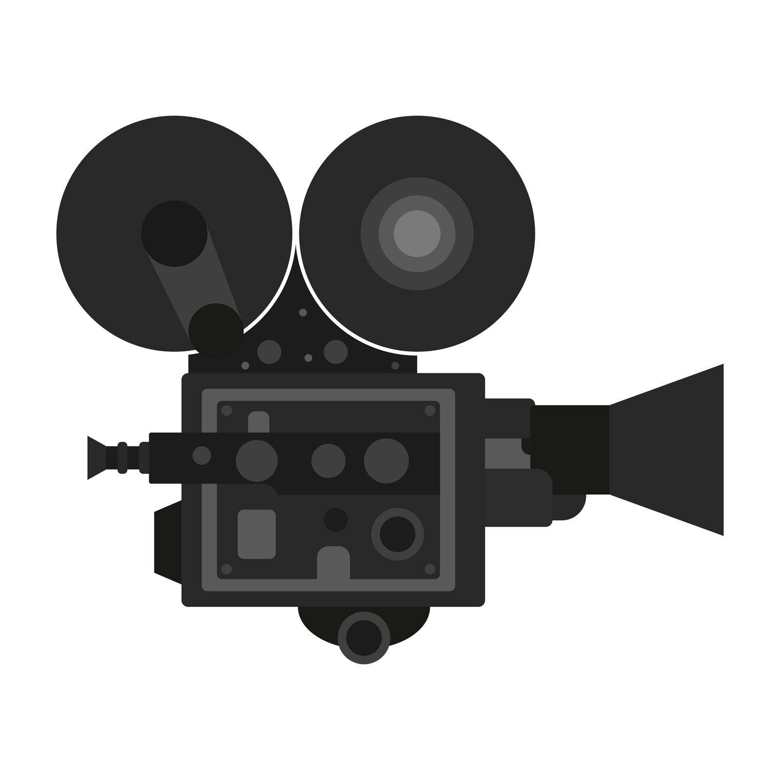 old vintage camcorder. Filming a movie on retro instrument. Film recording of a movie. Isolated vector on white background