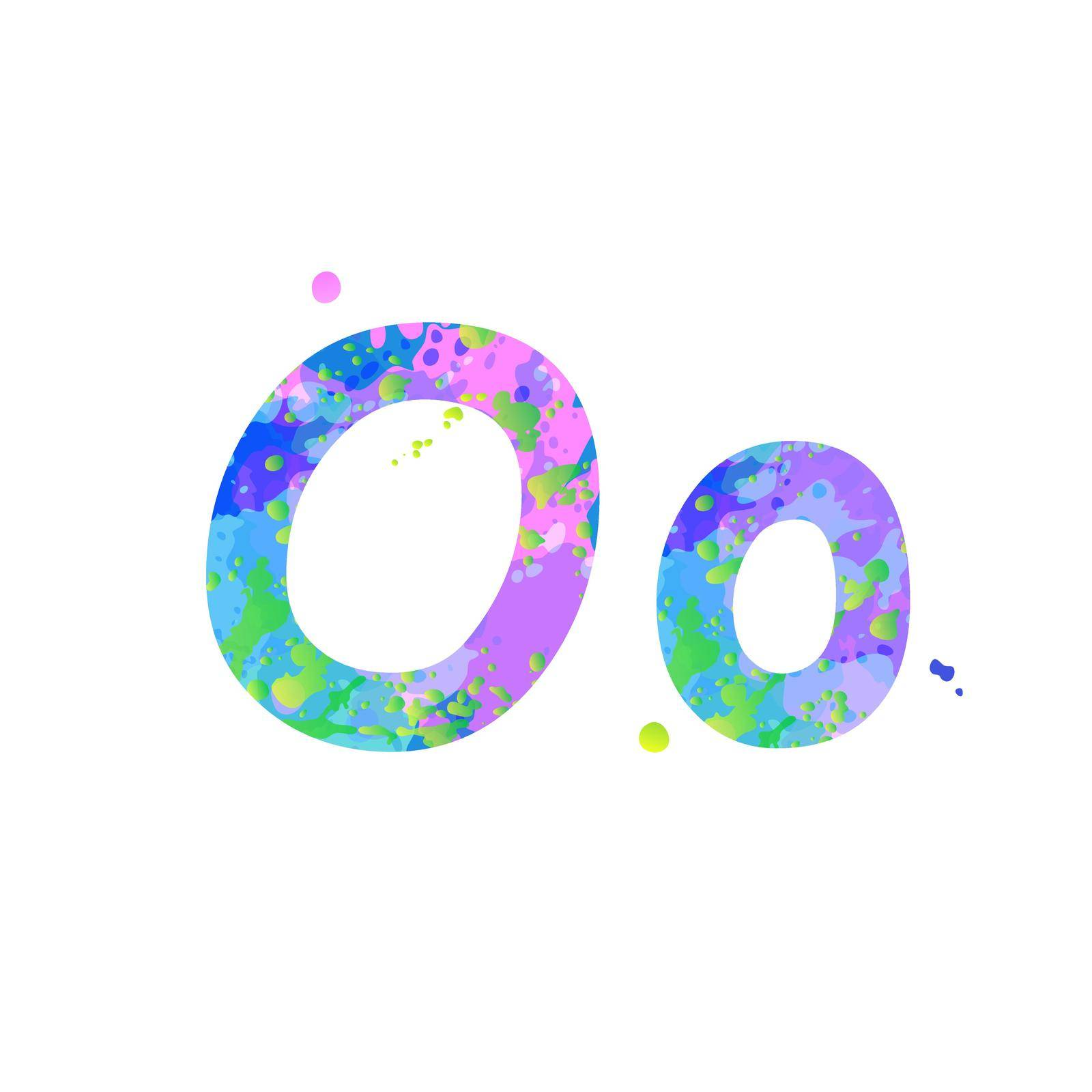 Letters O uppercase and lowercase with effect of liquid spots of paint in blue, green, pink colors, isolated on white background. Decoration element for design of a flyer, poster, cover, title. Vector