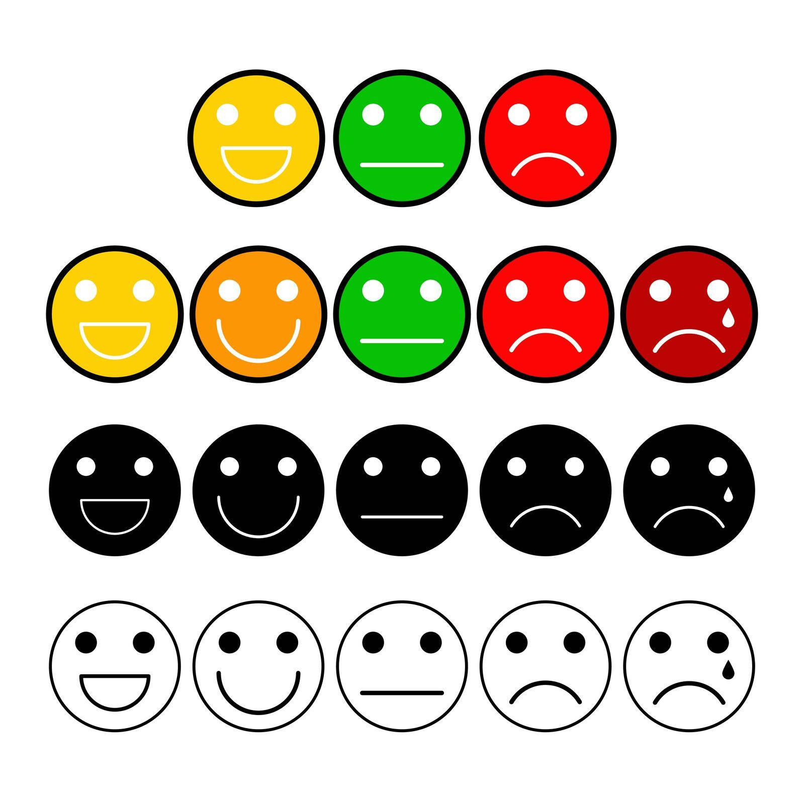 Customer opinion survey buttons set. Mood grade with emoji face. Client satisfaction measurement scale icons. Vector illustration isolated on white background.
