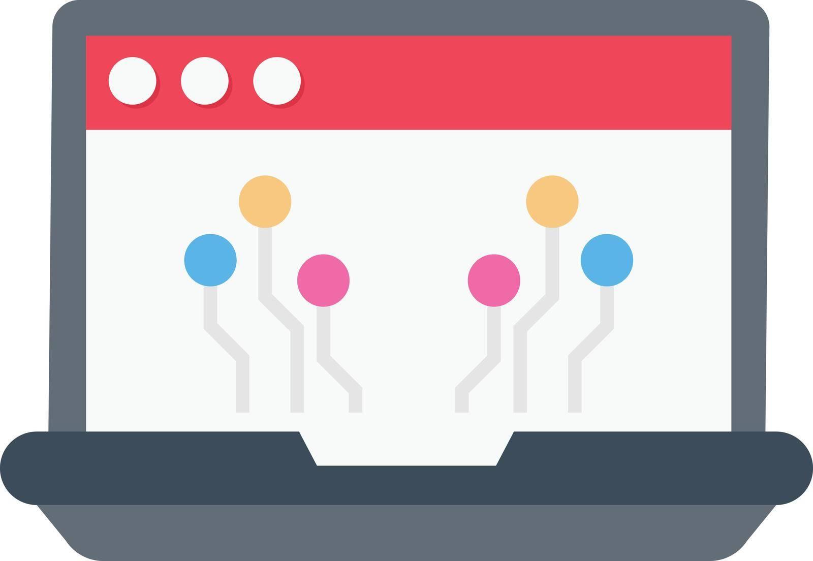 computer vector flat colour icon
