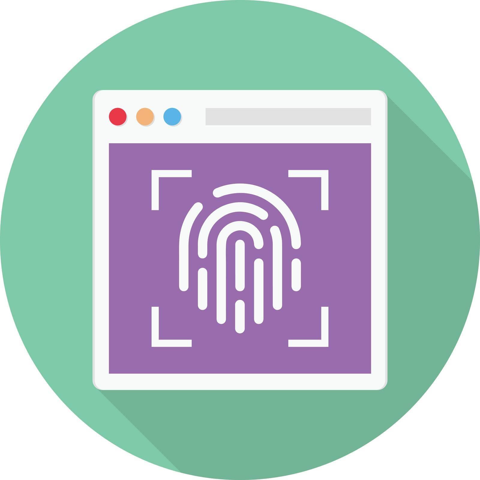 fingerprint vector circle shadow flat icon