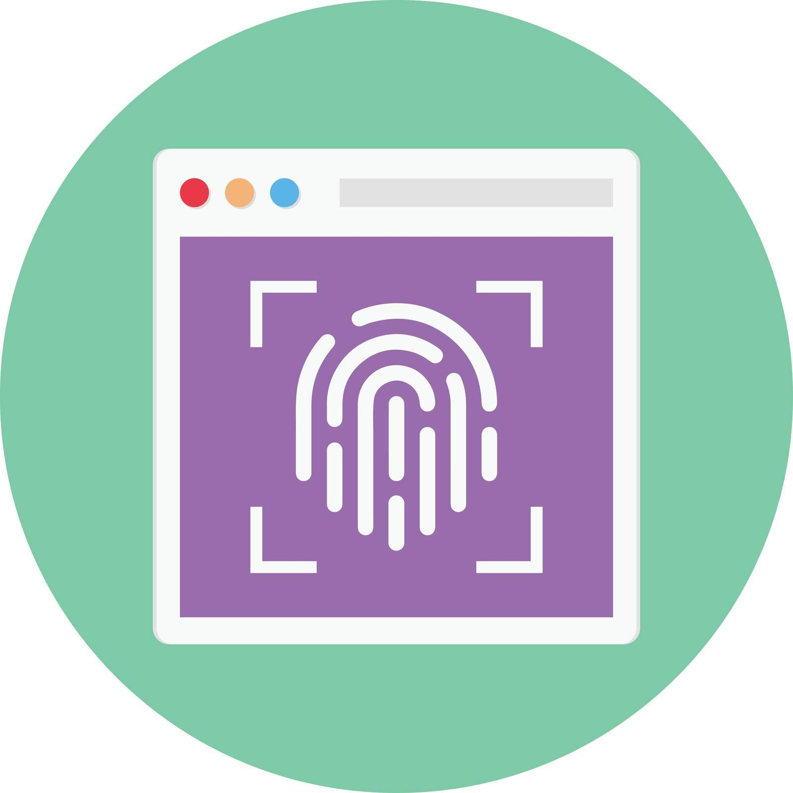 fingerprint vector circle flat icon