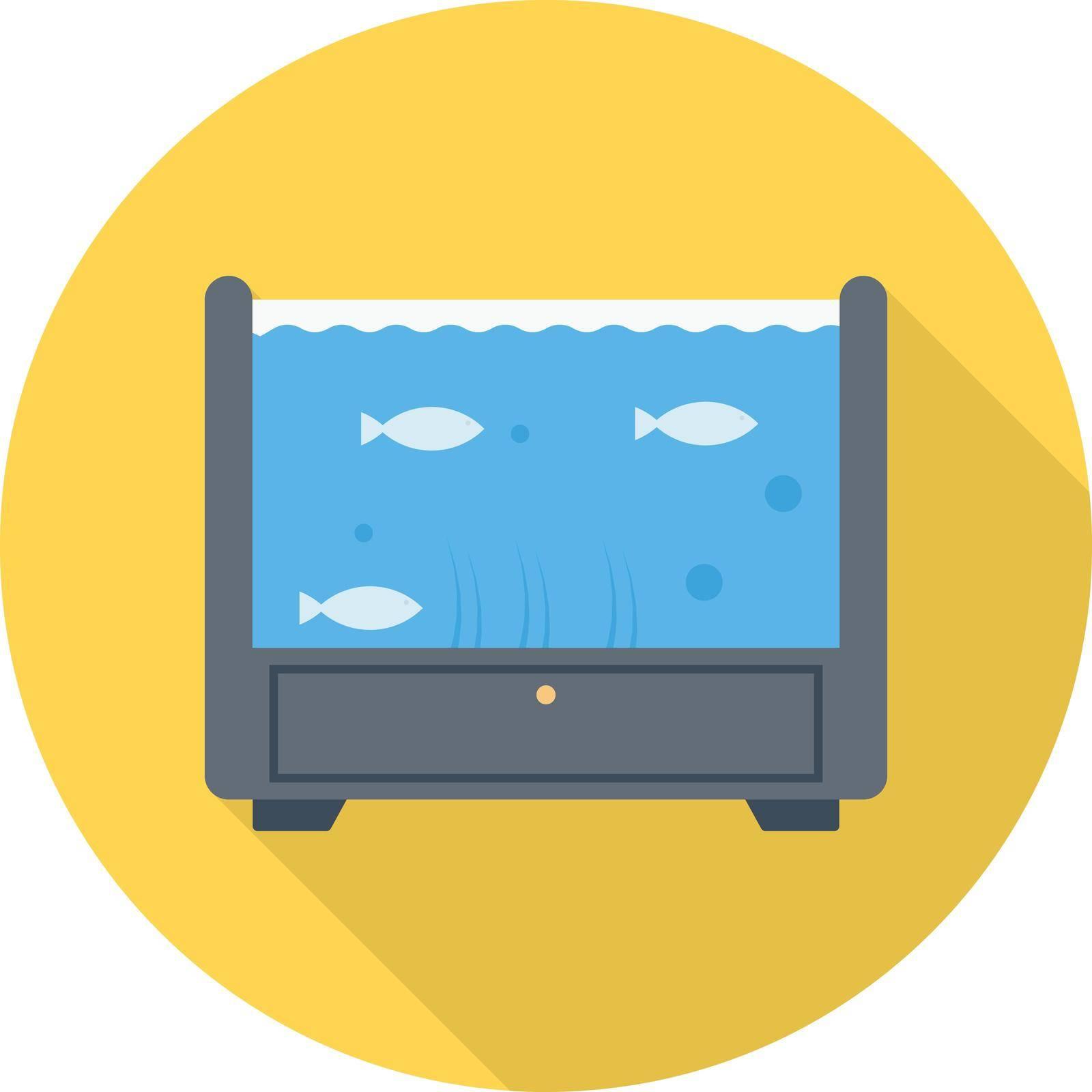 aquarium vector flat colour icon