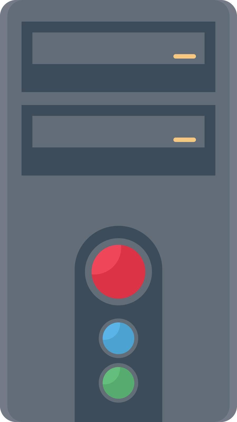 computer vector flat color icon