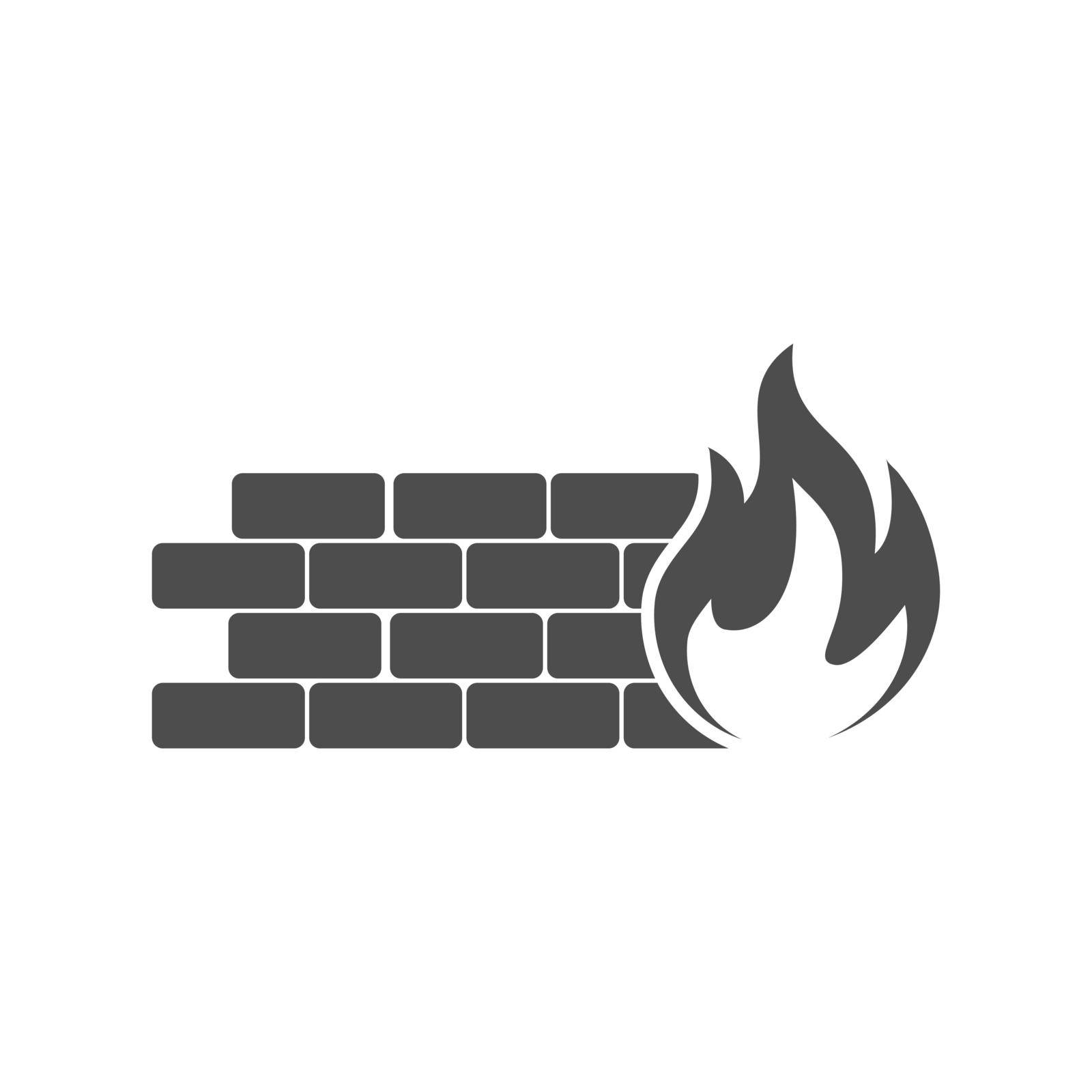 Firewall Icon. Vector icon isolated on a white background. Flat style