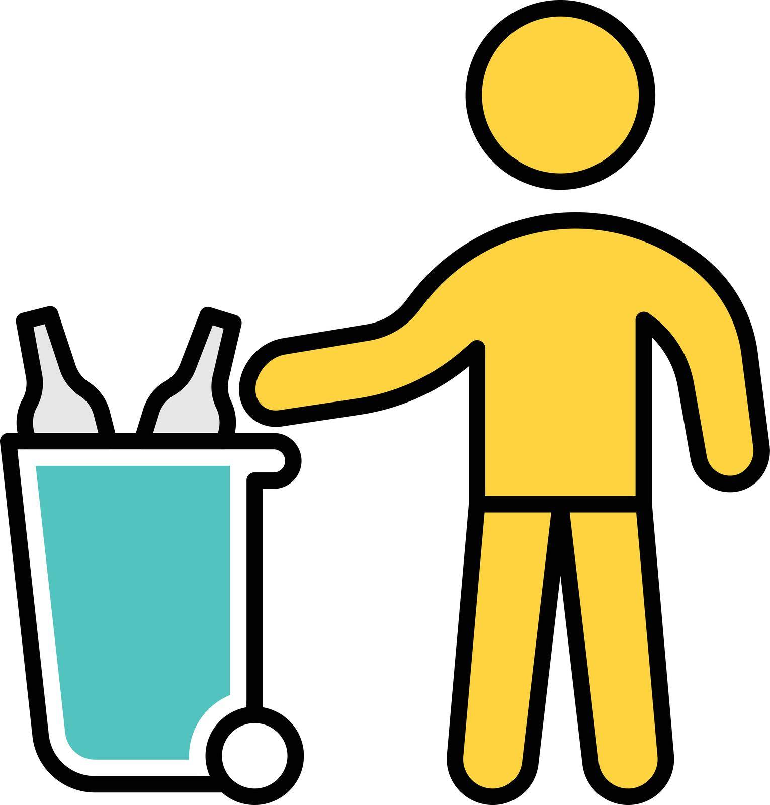 garbage vector line colour icon