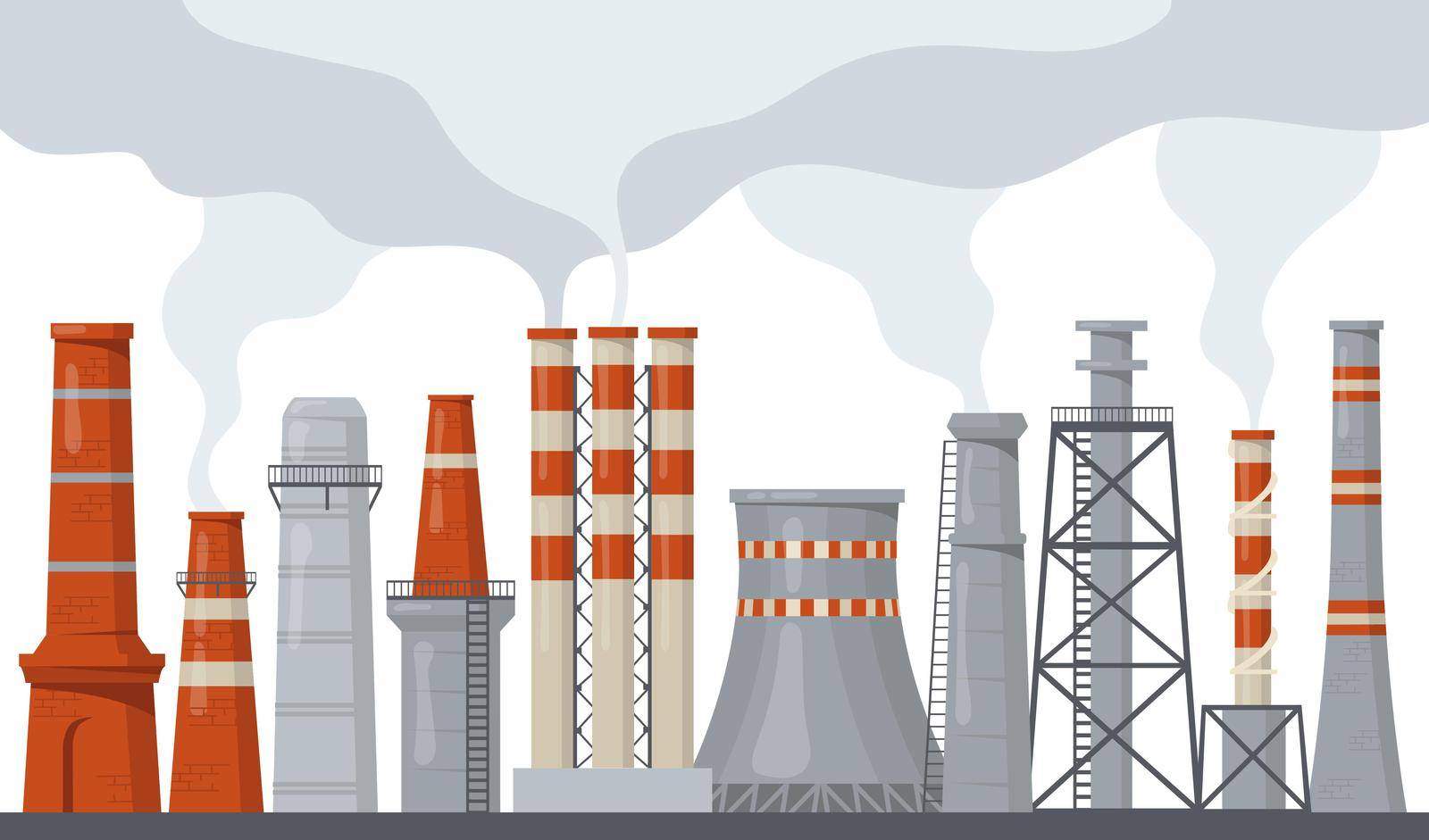 Pipe and stack factory with toxic power energy flat illustration set. Cartoon industrial chimney pollution with smoke or steam isolated vector illustration collection. Environment and ecology concept