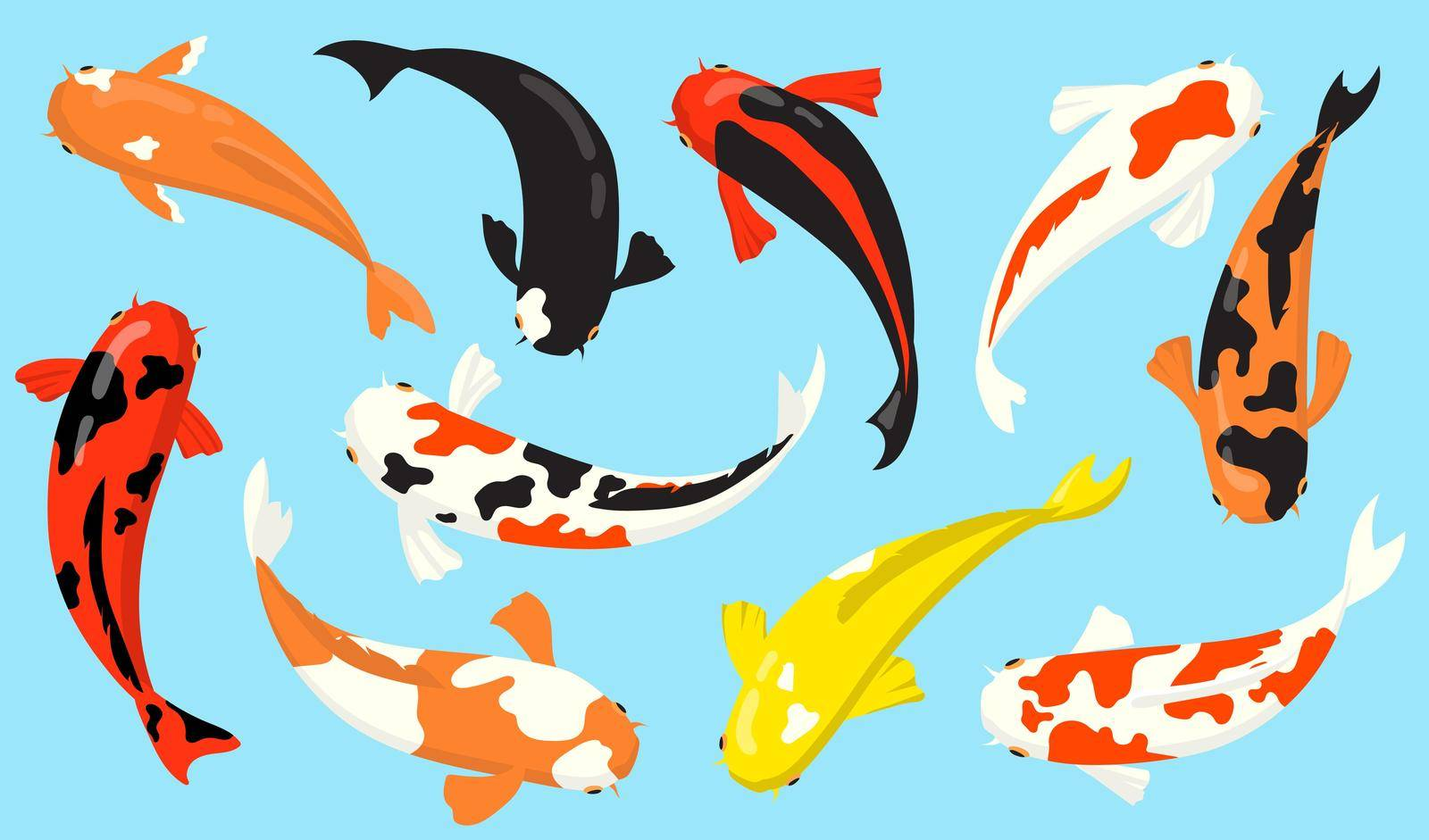 Top view of koi carp fishes flat icon set. Chinese or Japanese traditional goldfishes vector illustration collection. Zen, water and garden concept