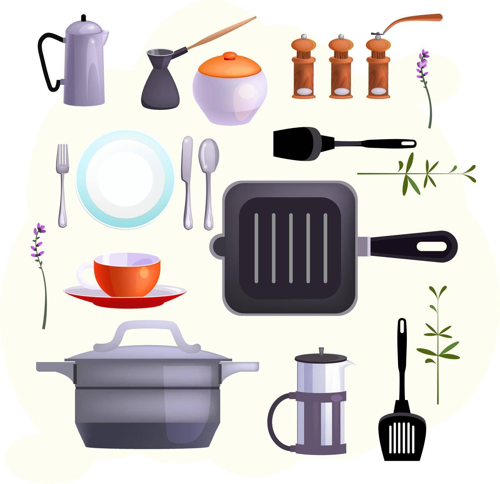 Kitchen equipment icons by mstjahanara