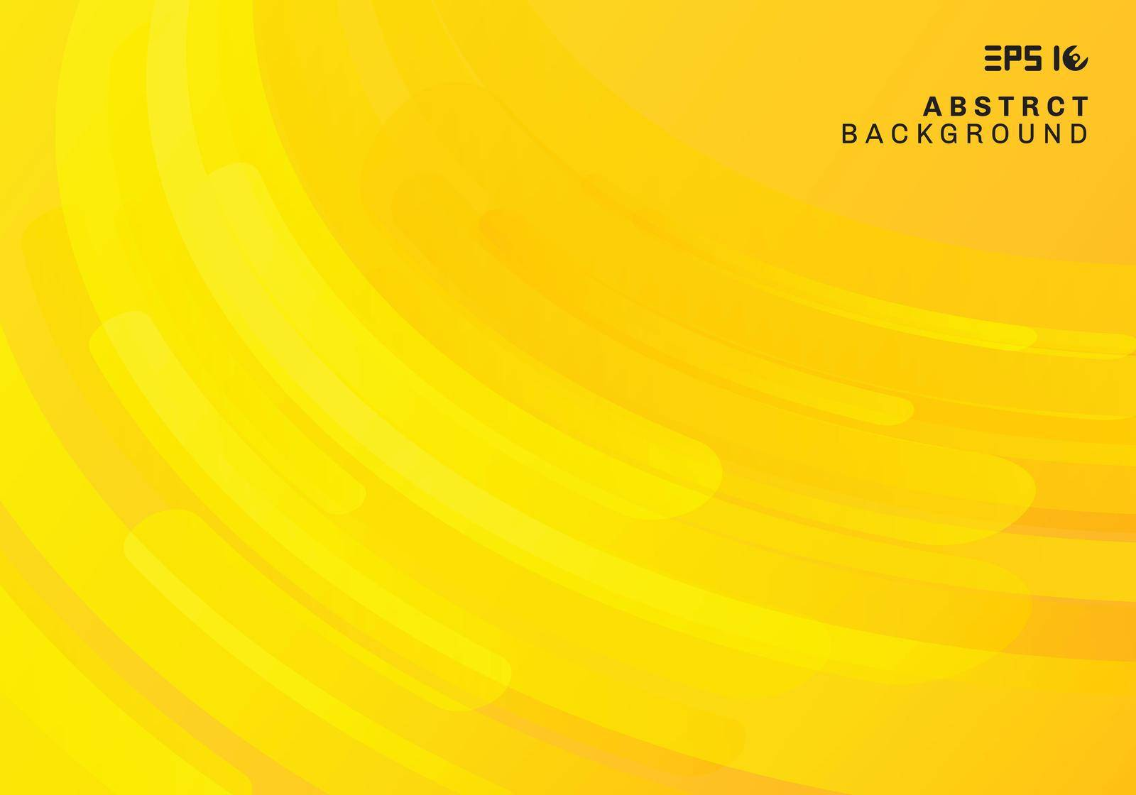 Abstract yellow geometric background and dynamic curve fluid motion shapes composition. Vector illustration