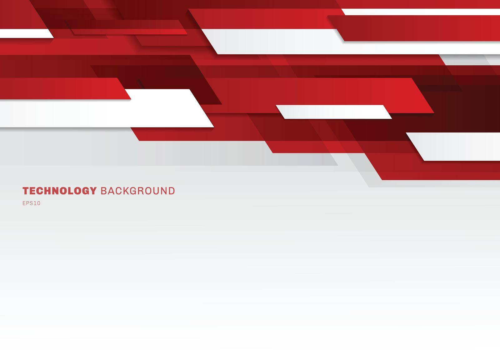 Abstract header red and white shiny geometric shapes overlapping moving technology futuristic style presentation background with copy space. Vector illustration