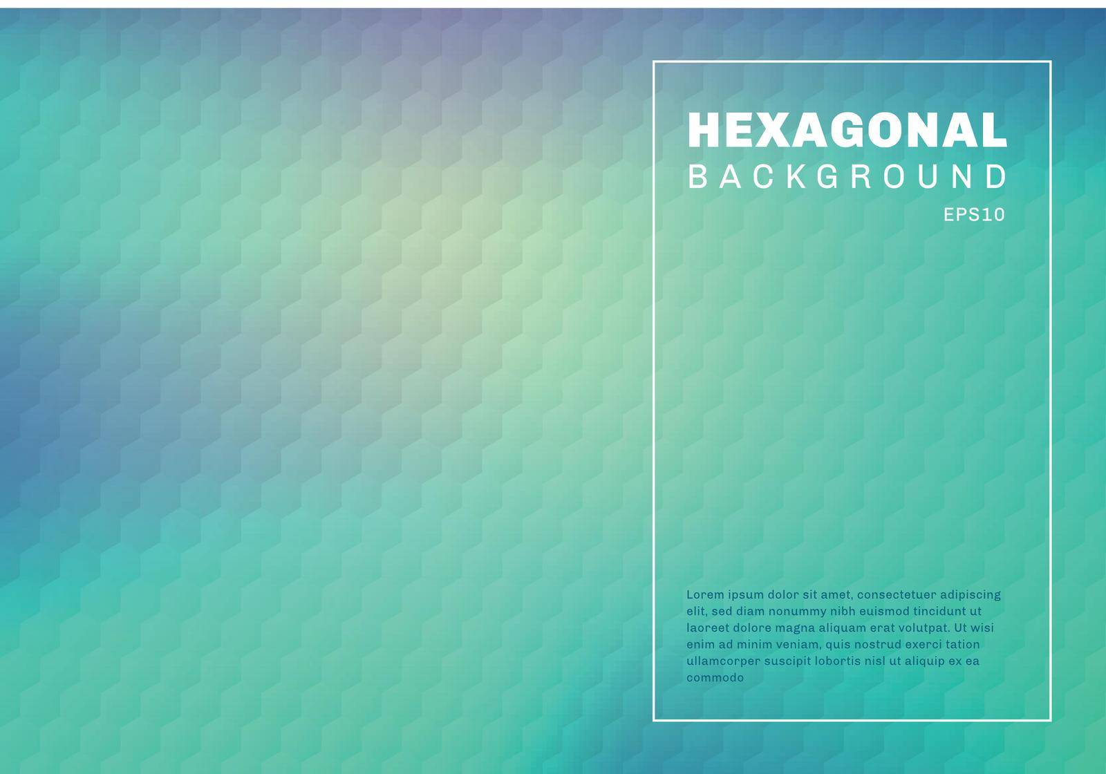 Abstract green mint and blue turquoise gradient blurred background with hexagon embossed pattern texture. You can use for template cover design brochure, poster, banner web, print, flyer, ad, etc. Vector illustration
