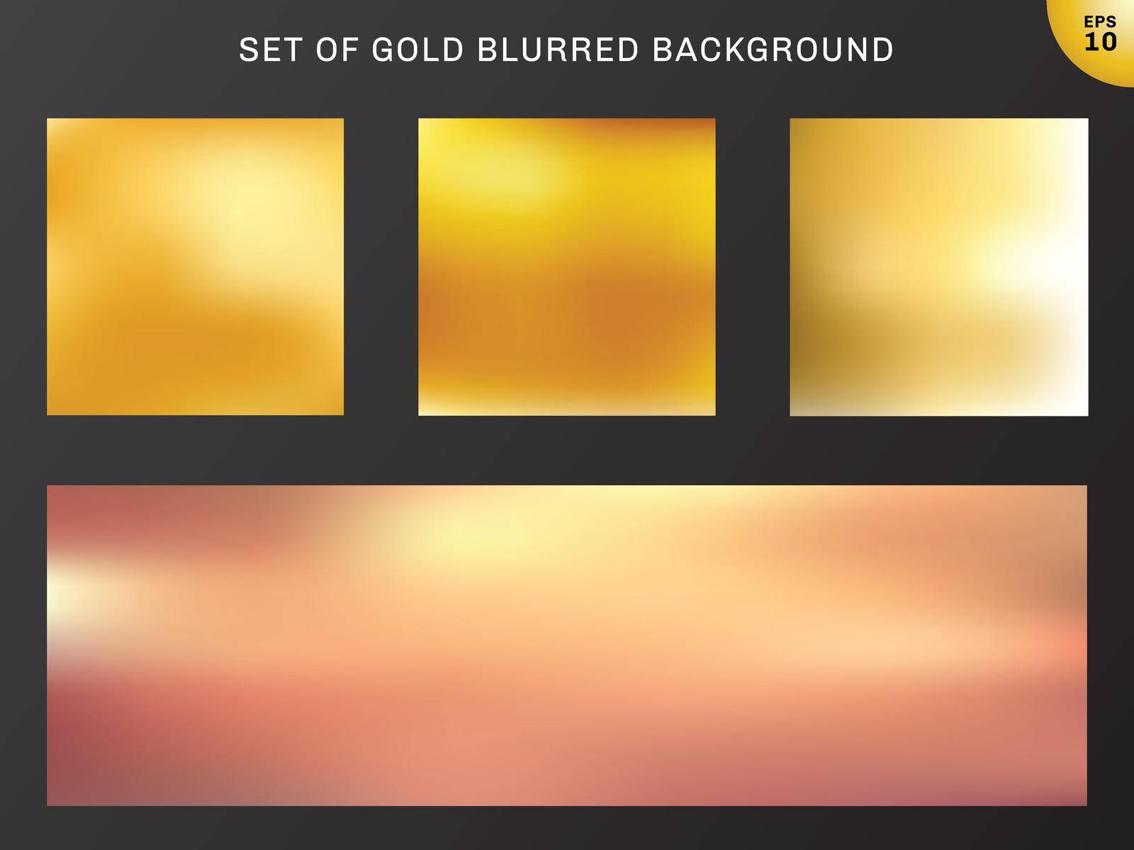 Set of gold blurred background luxury style. collection many beautiful golden color. Elements for your brochure, banner web, poster, flyer, website or presentation. Vector illustration