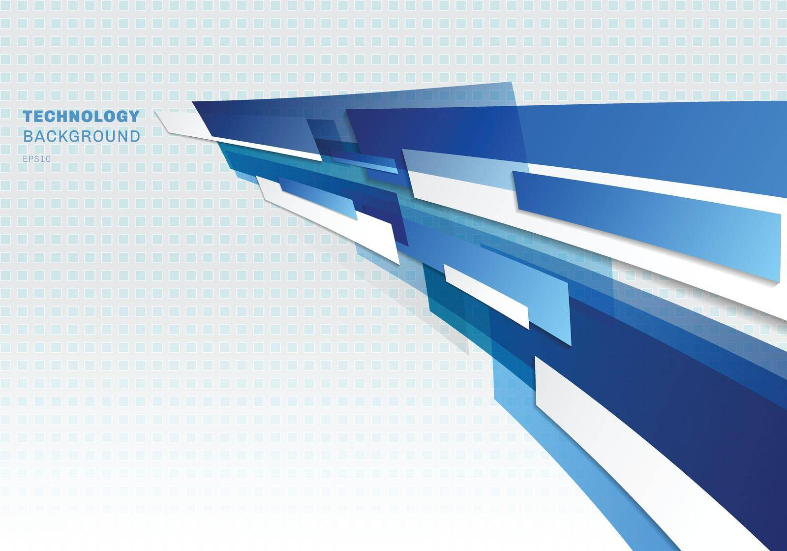 Abstract blue and white shiny geometric shapes overlapping moving technology futuristic style presentation perspective background with copy space. Vector illustration