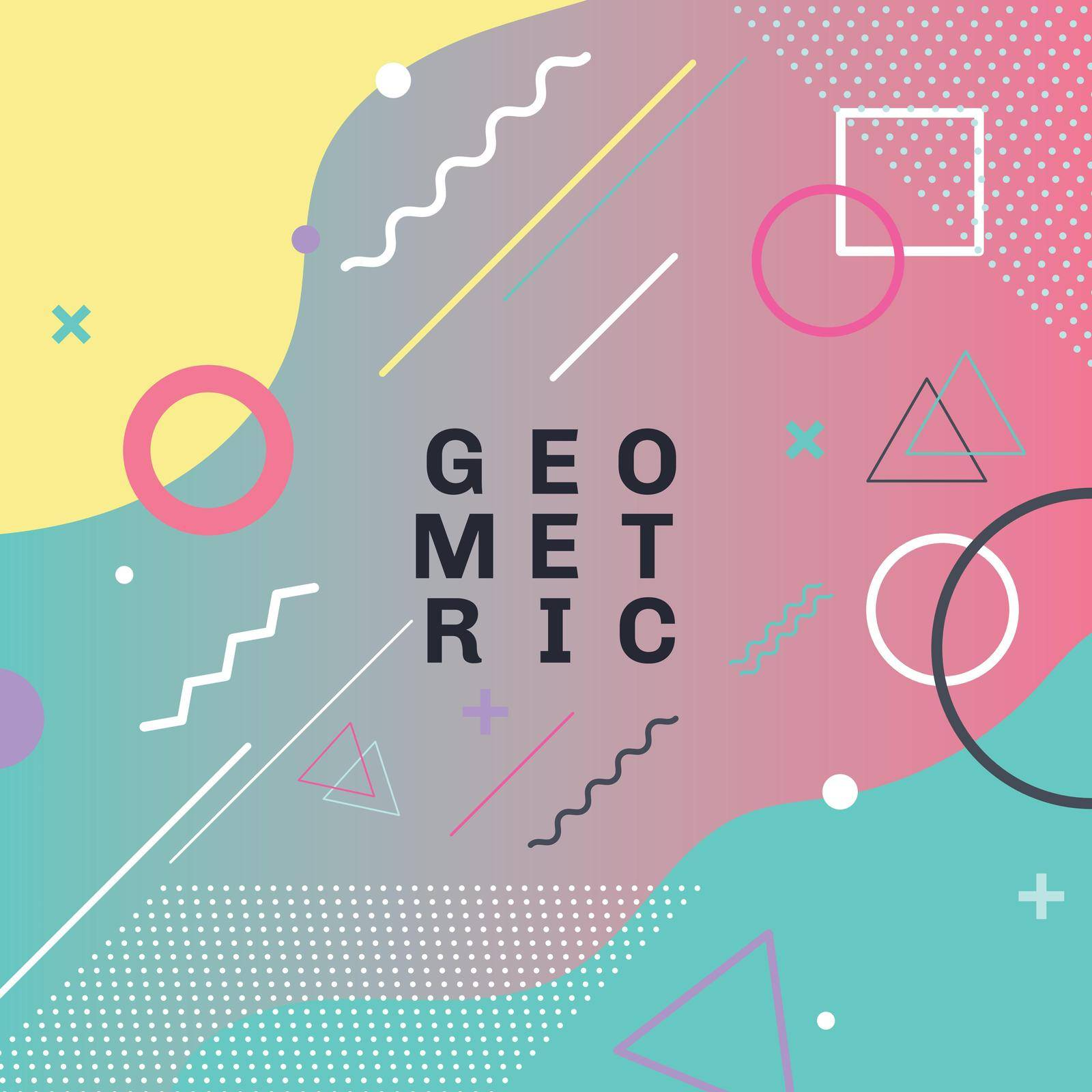 Abstract colorful geometric shapes and forms trendy fashion memphis style card design background. You can use for poster, brochure, layout, template or presentation. Vector illustration