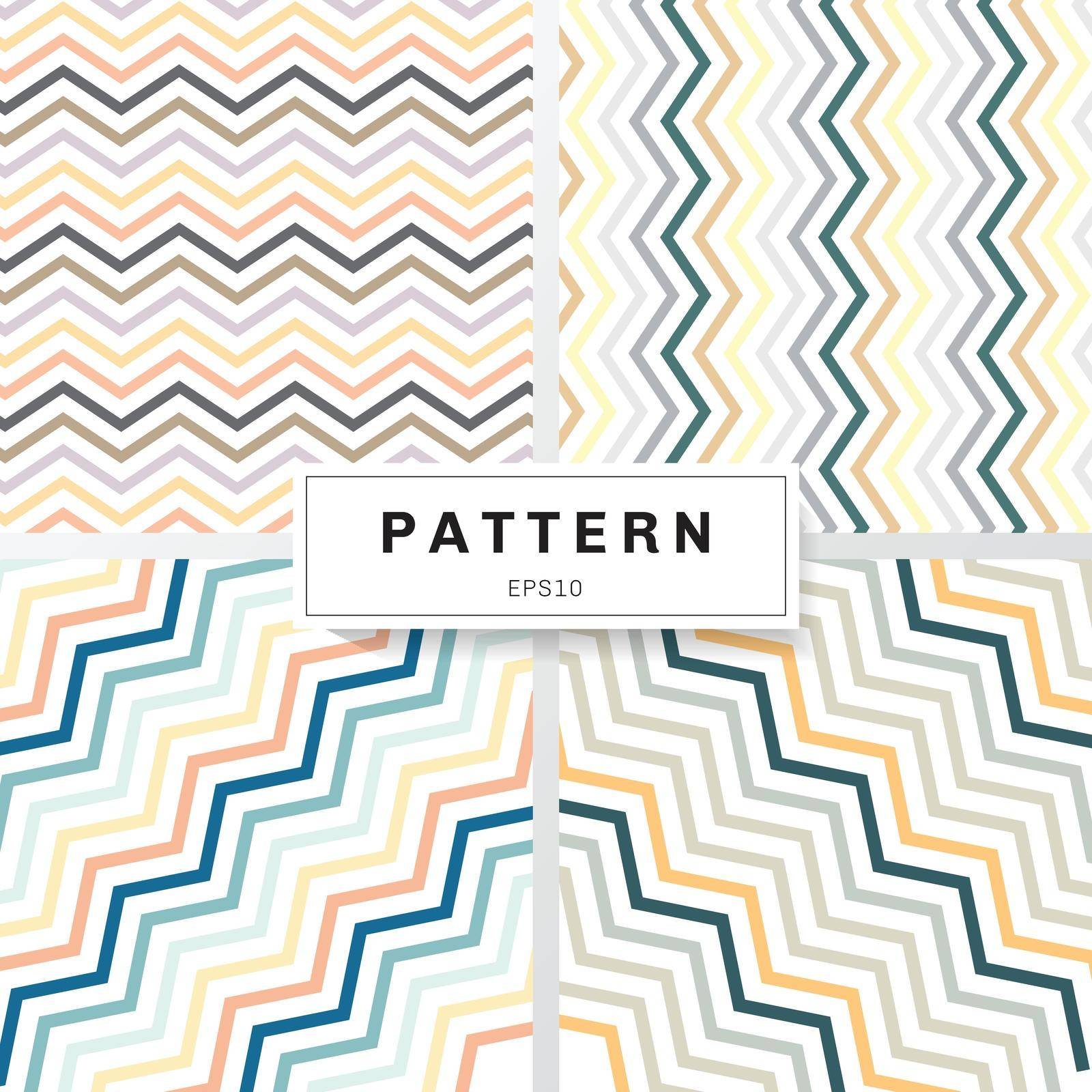 Set of chevron patterns pastels color on white background. Yellow, Orange, Deep blue, Brown, Green, Gray. Perfect for wallpapers and pattern fills zig zag. Vector illustration