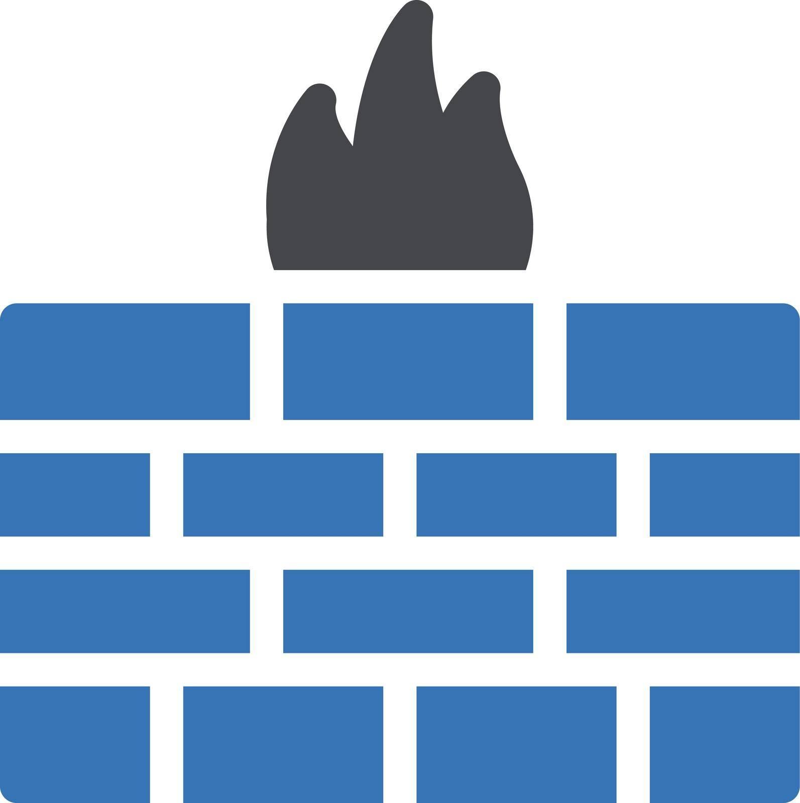 firewall vector glyph color icon