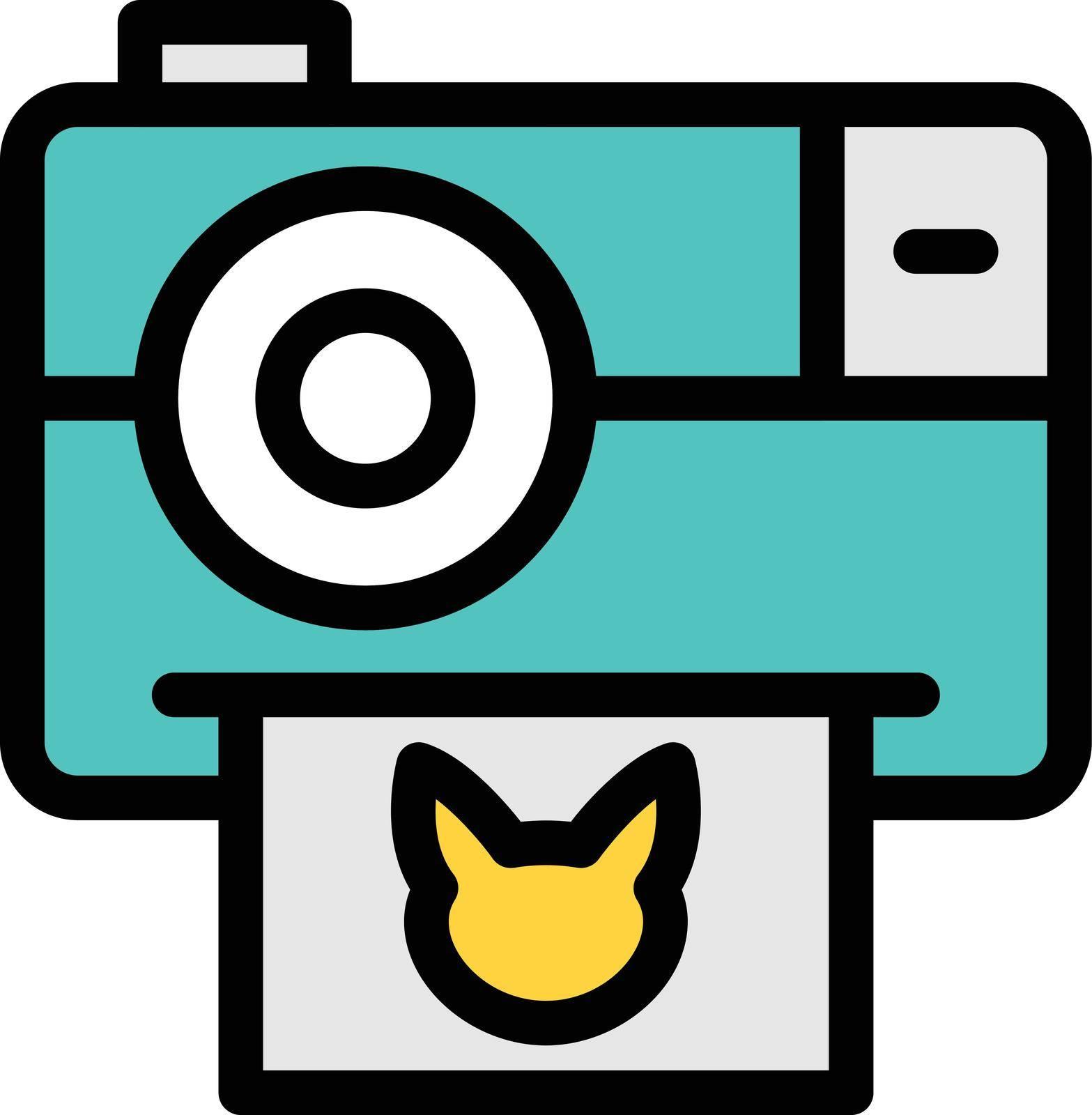 camera vector color line icon